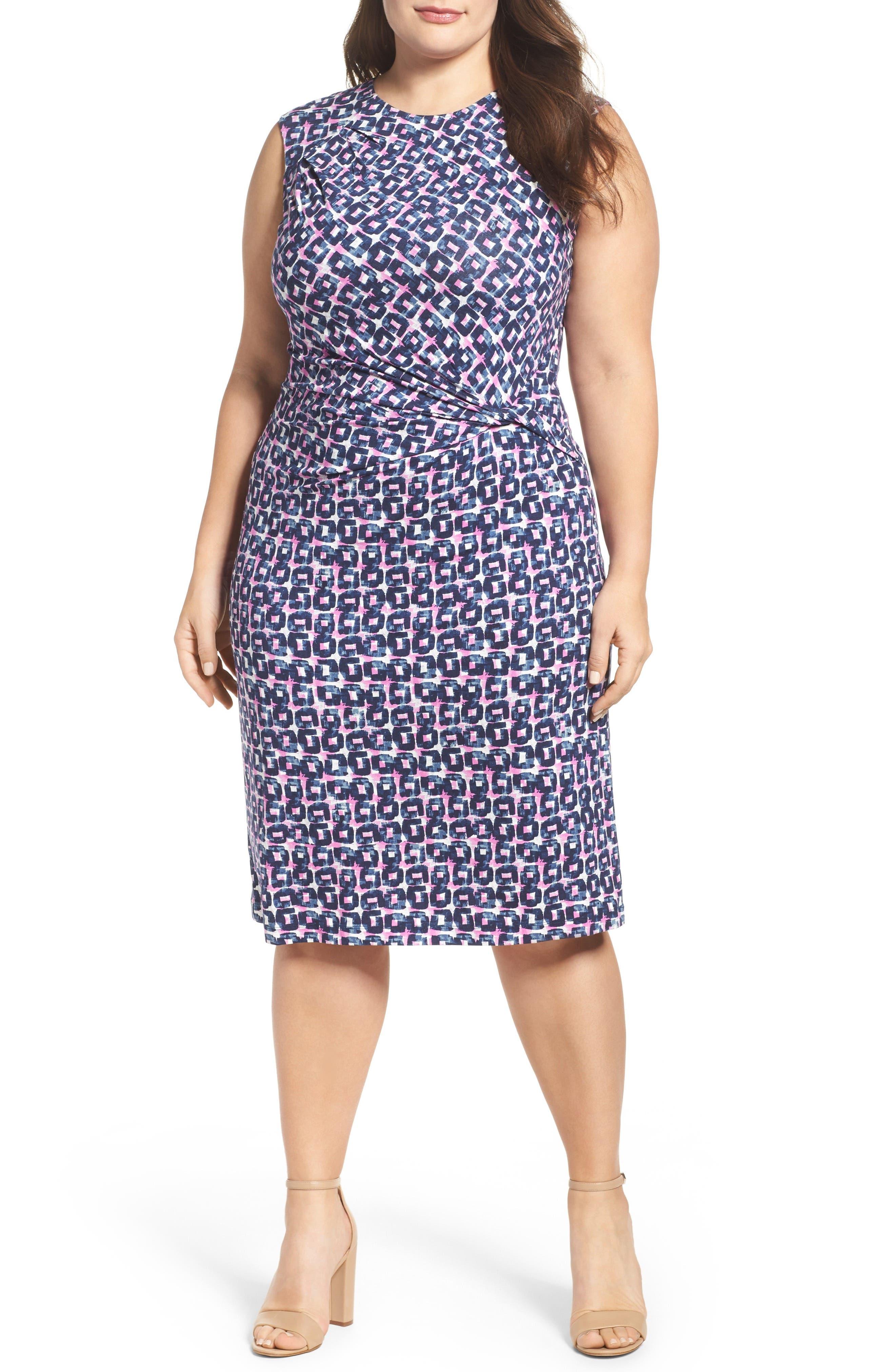 NIC+ZOE Groundwork Knit Sheath Dress (Plus Size)