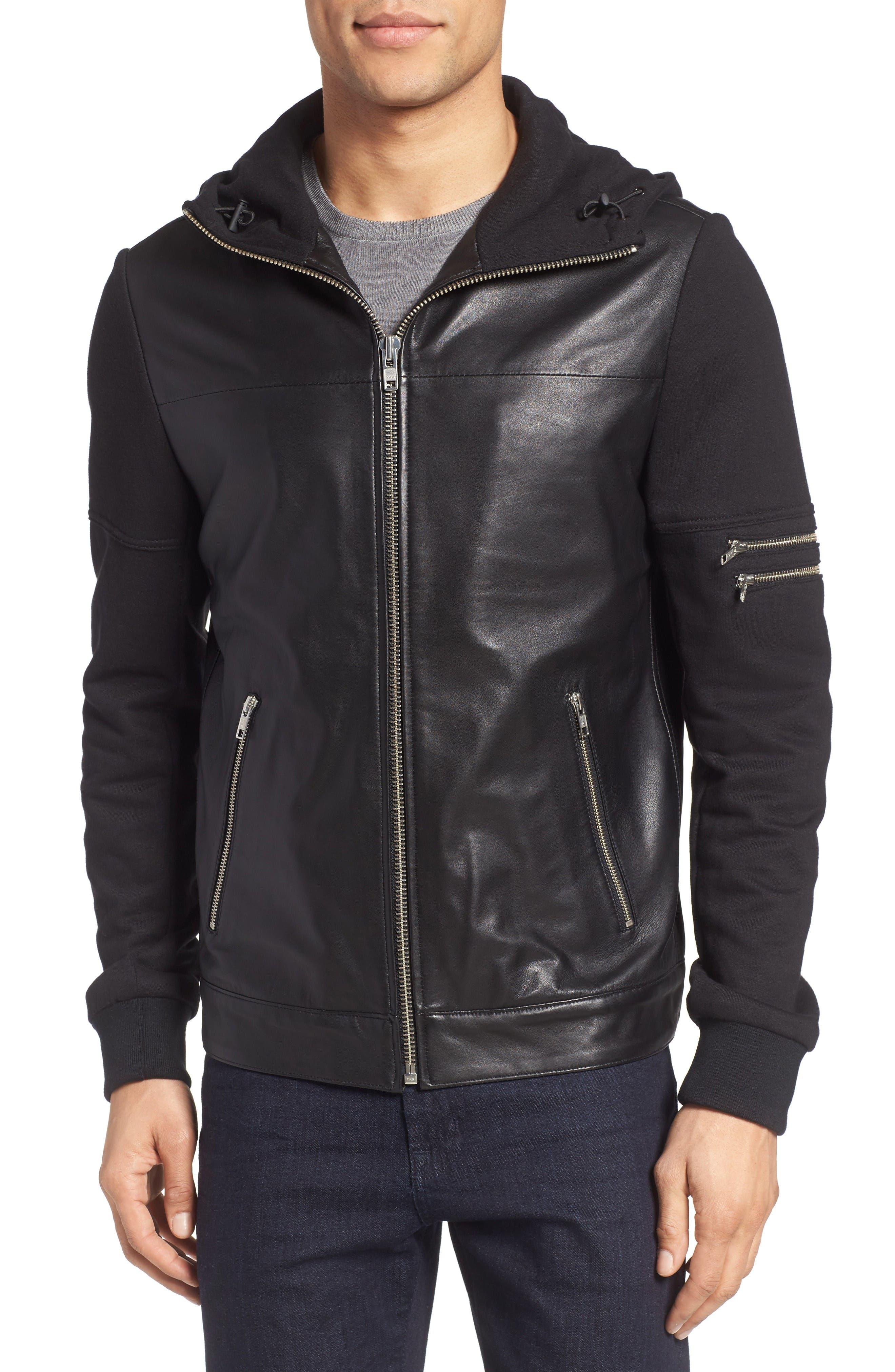 LAMARQUE Leather & Jersey Zip Front Hoodie