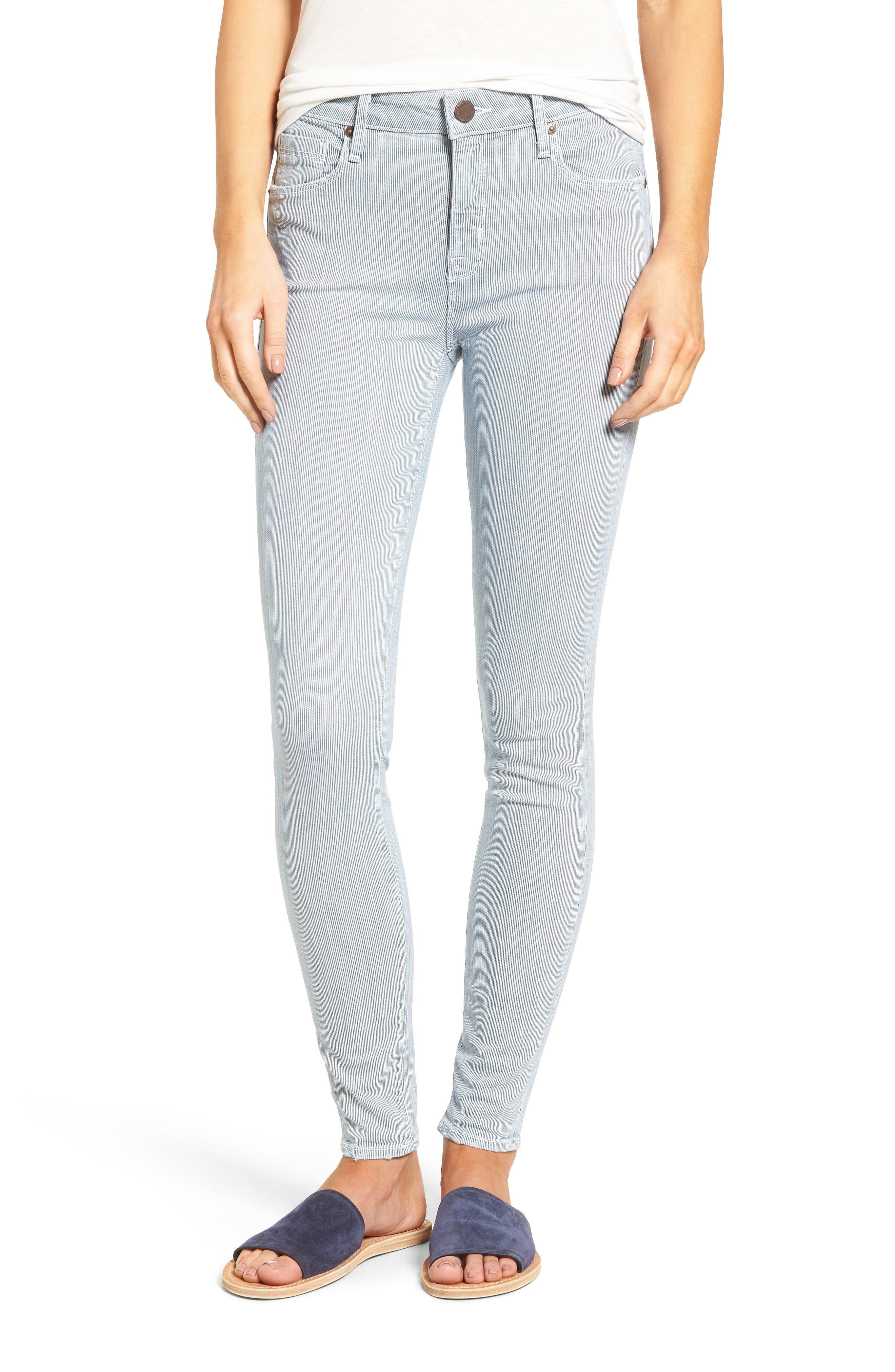 Main Image - PARKER SMITH Ava Railroad Stripe Skinny Jeans (Engineer)