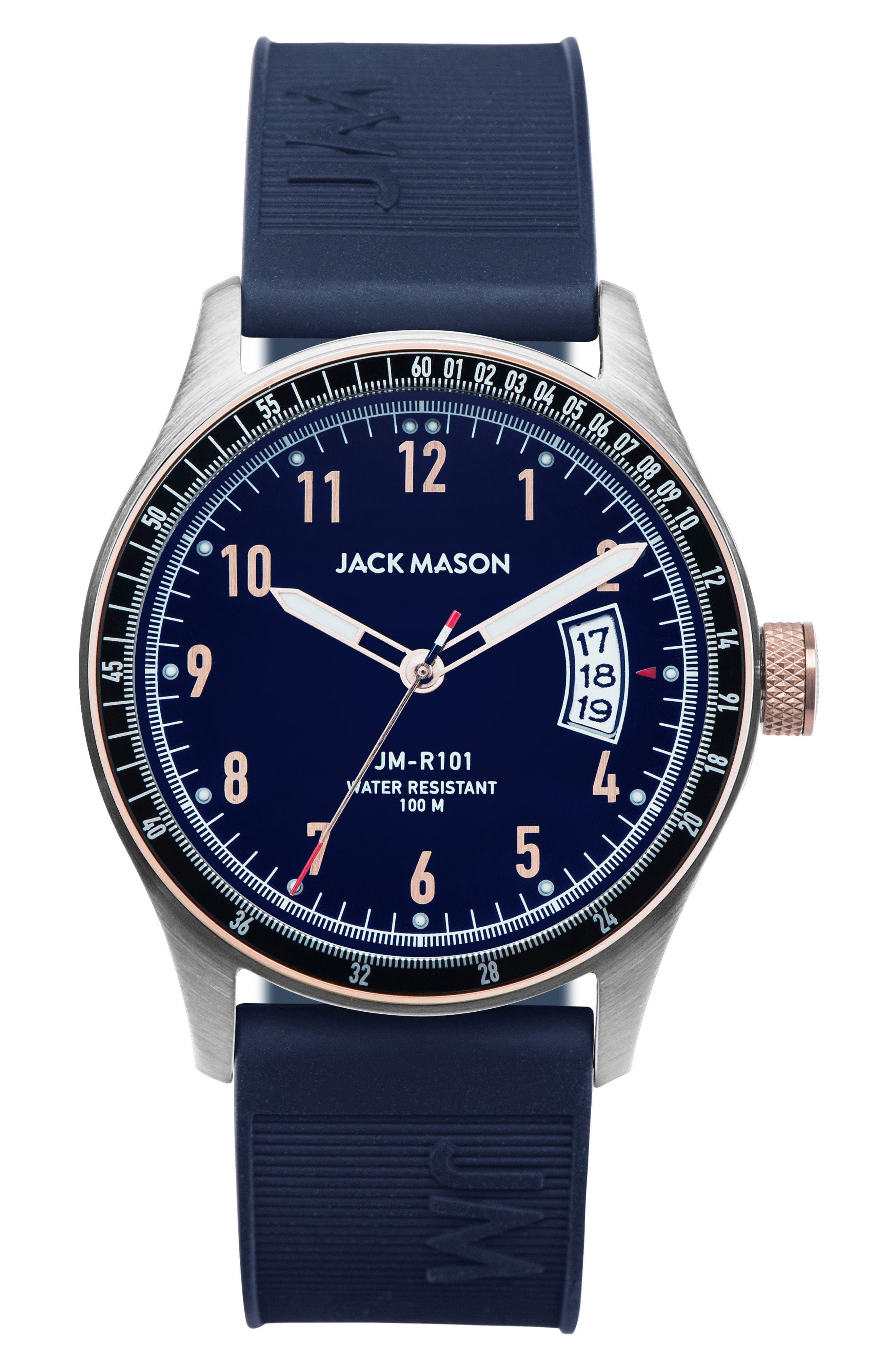 Jack Mason Racing Silicone Strap Watch, 46mm