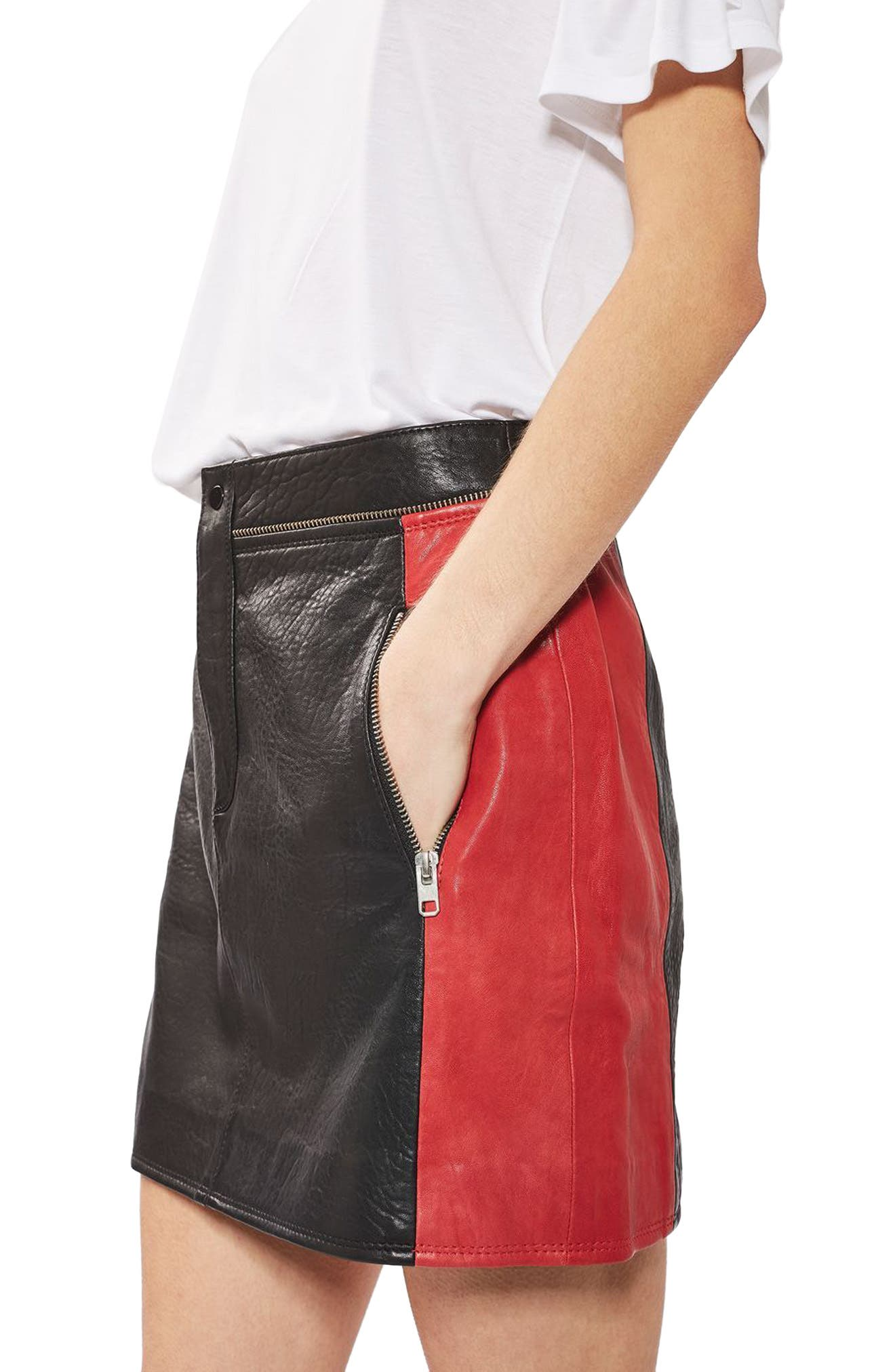 Main Image - Topshop Colorblock Leather Skirt