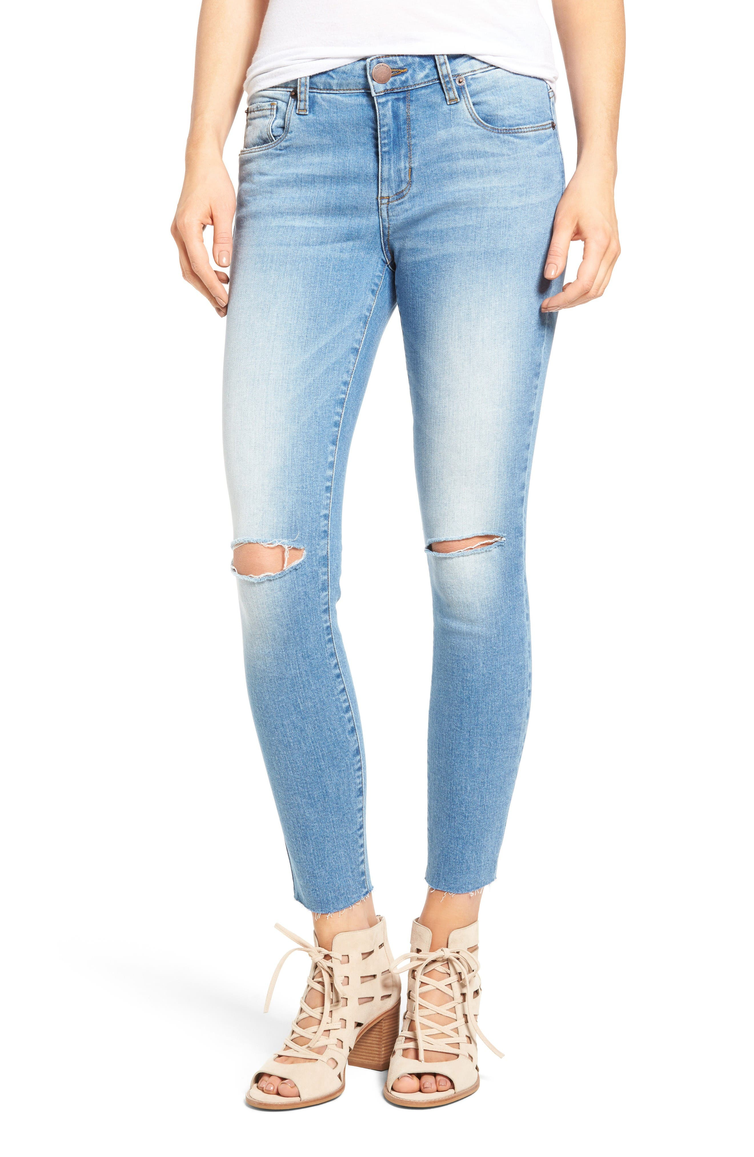 Alternate Image 1 Selected - STS Blue Emma Ripped Crop Skinny Jeans (Mount Tallac)