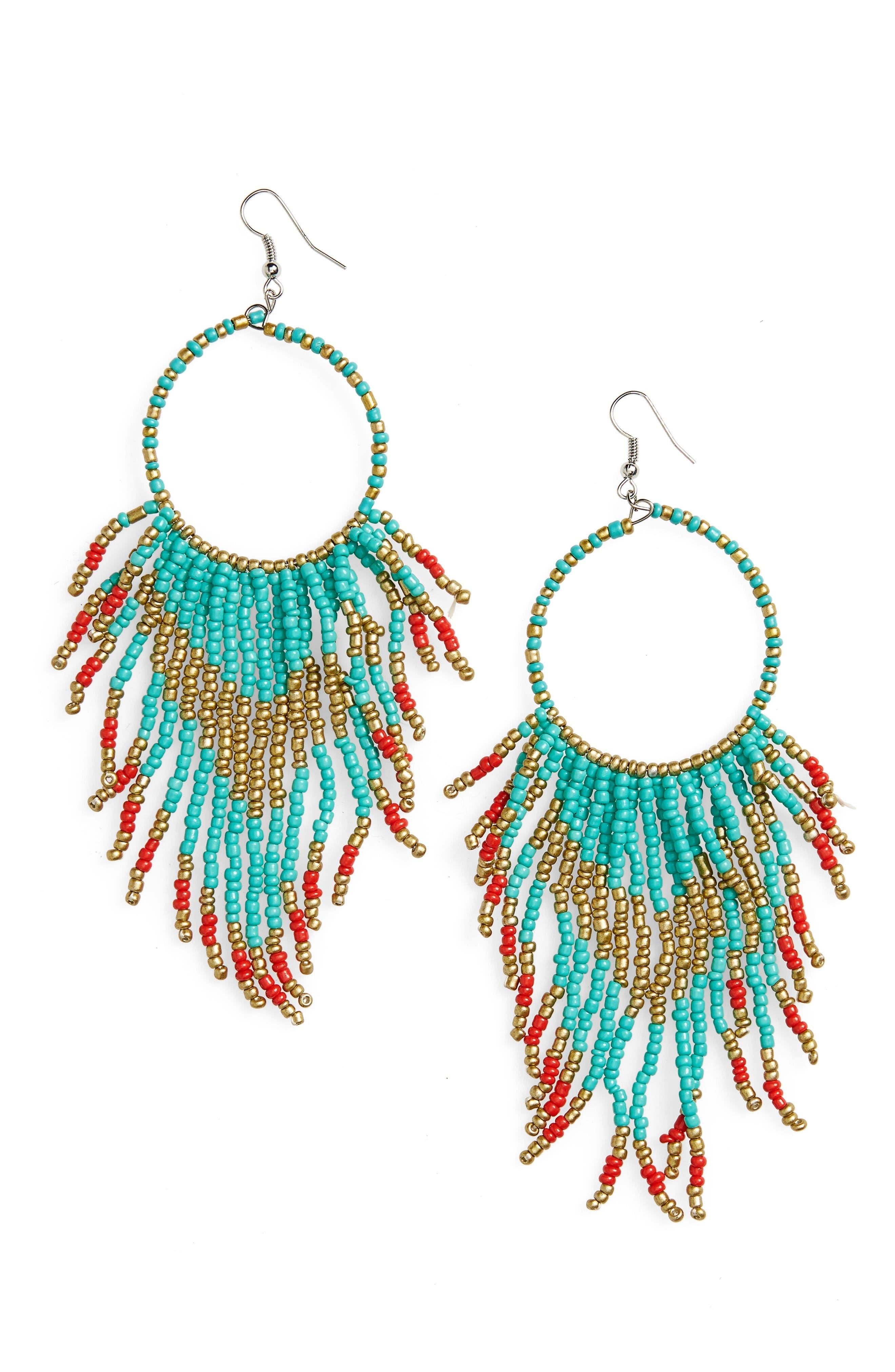 Cara Beaded Circle Drop Earrings