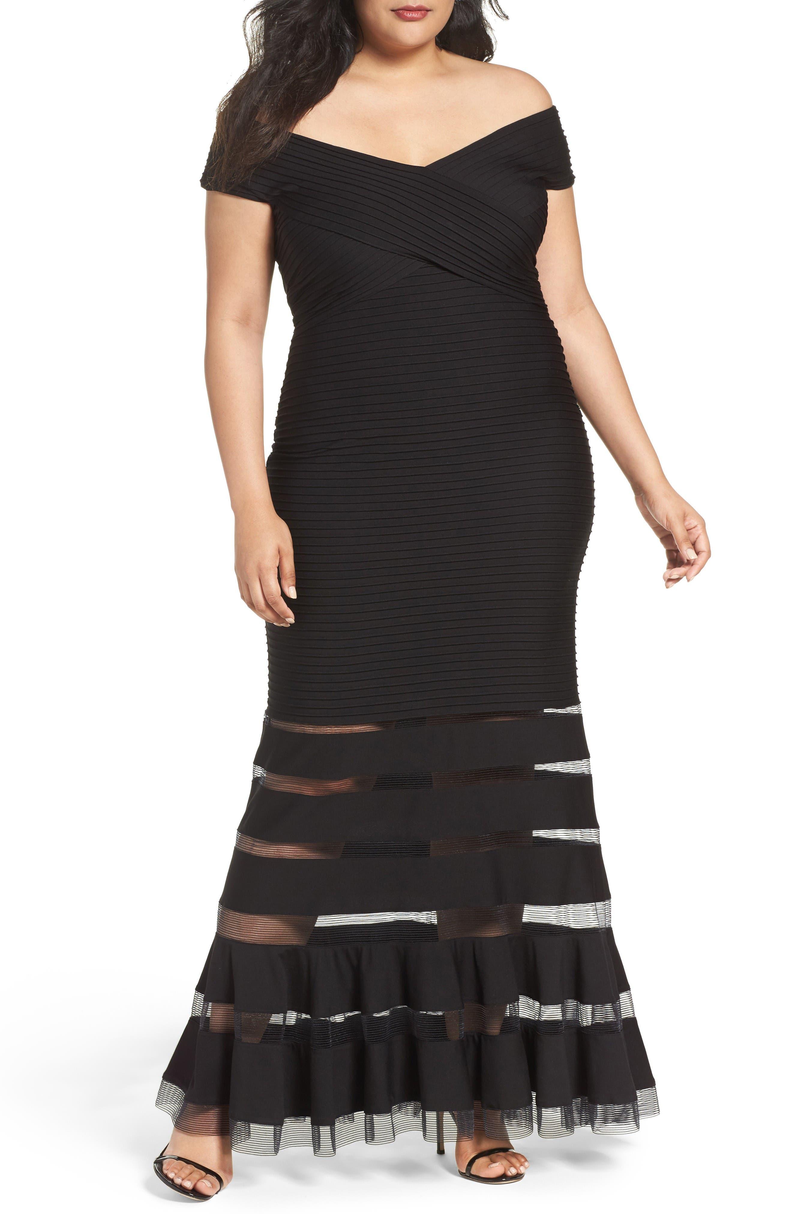 Tadashi Shoji Pintuck Jersey Off the Shoulder Gown (Plus Size)