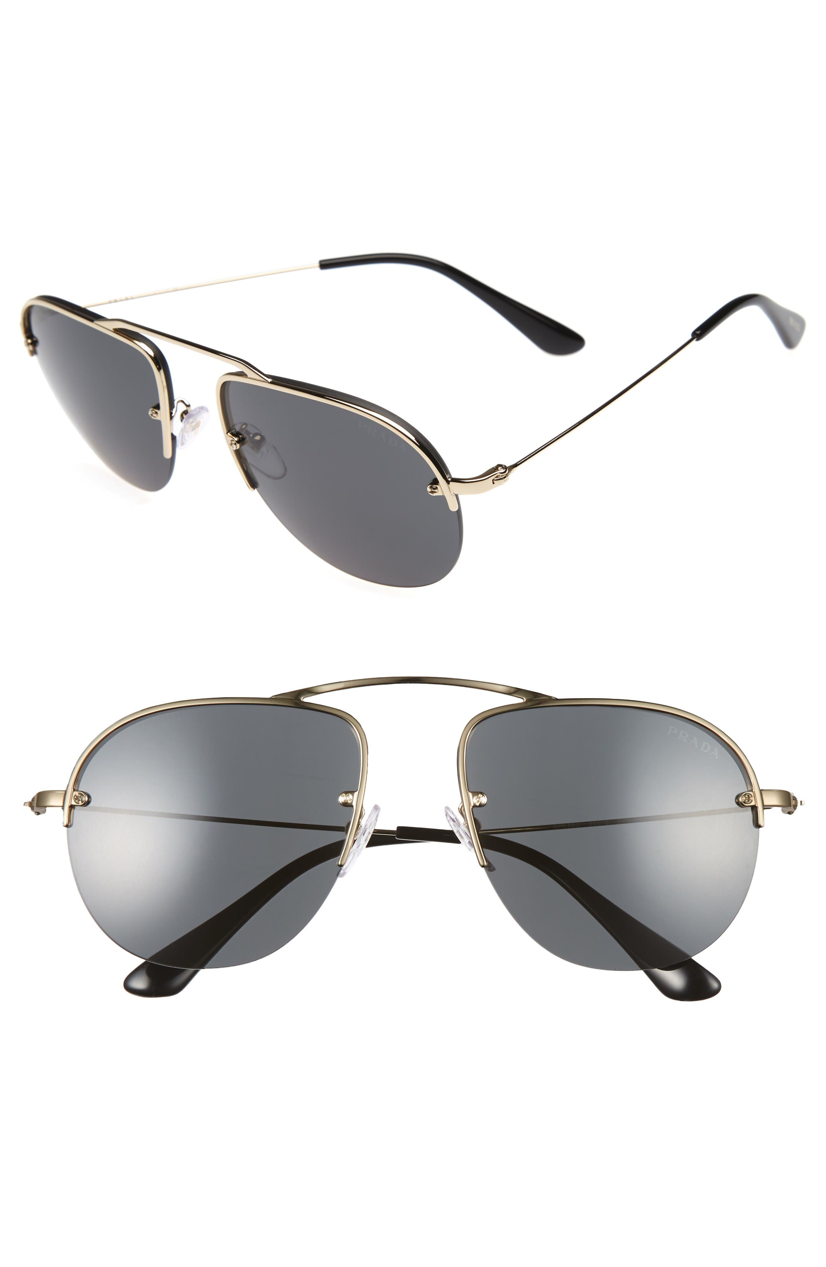 Prada Parallel Universe 55mm Aviator Sunglasses