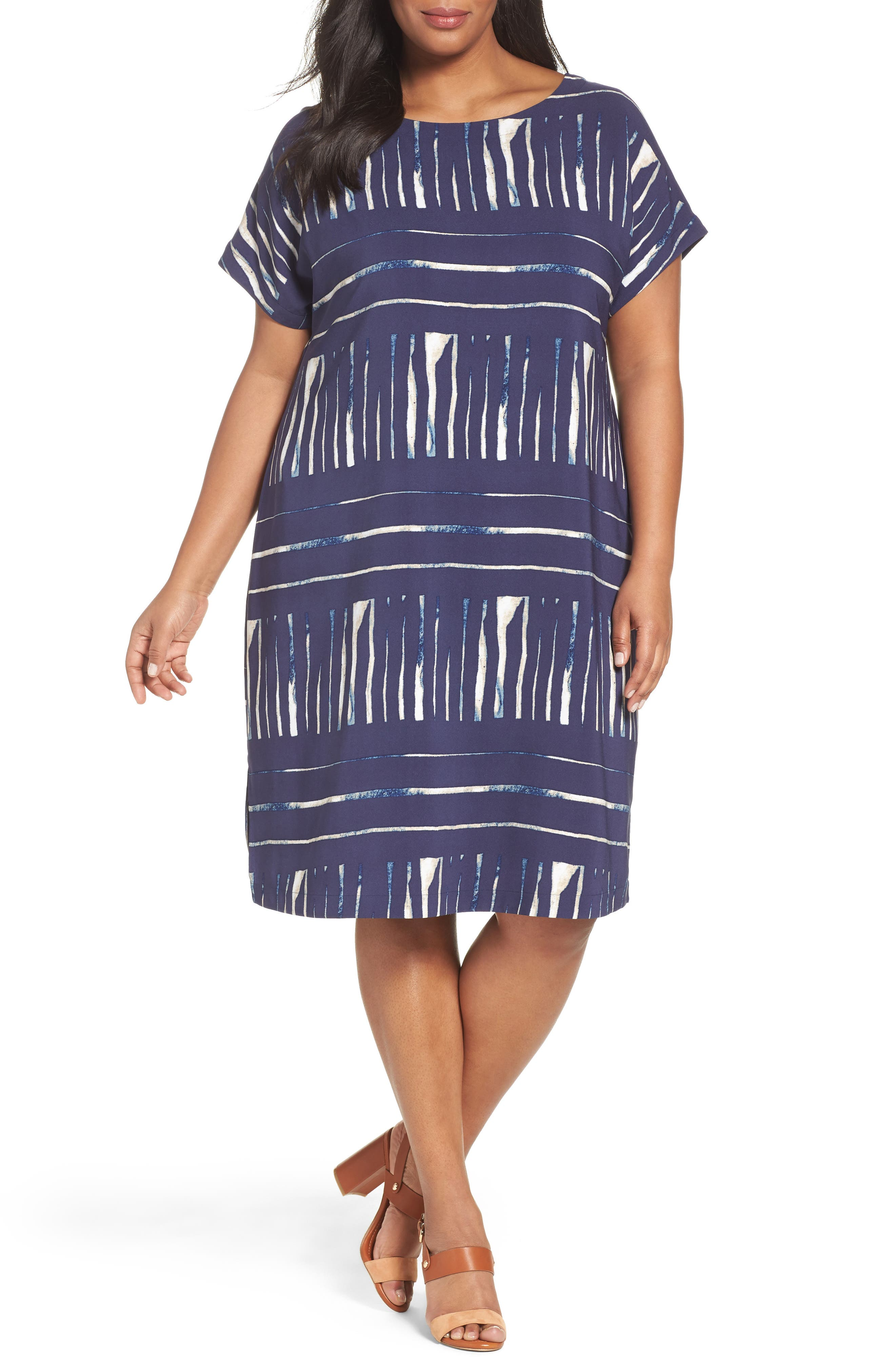 Sejour Keyhole Back Shift Dress (Plus Size)