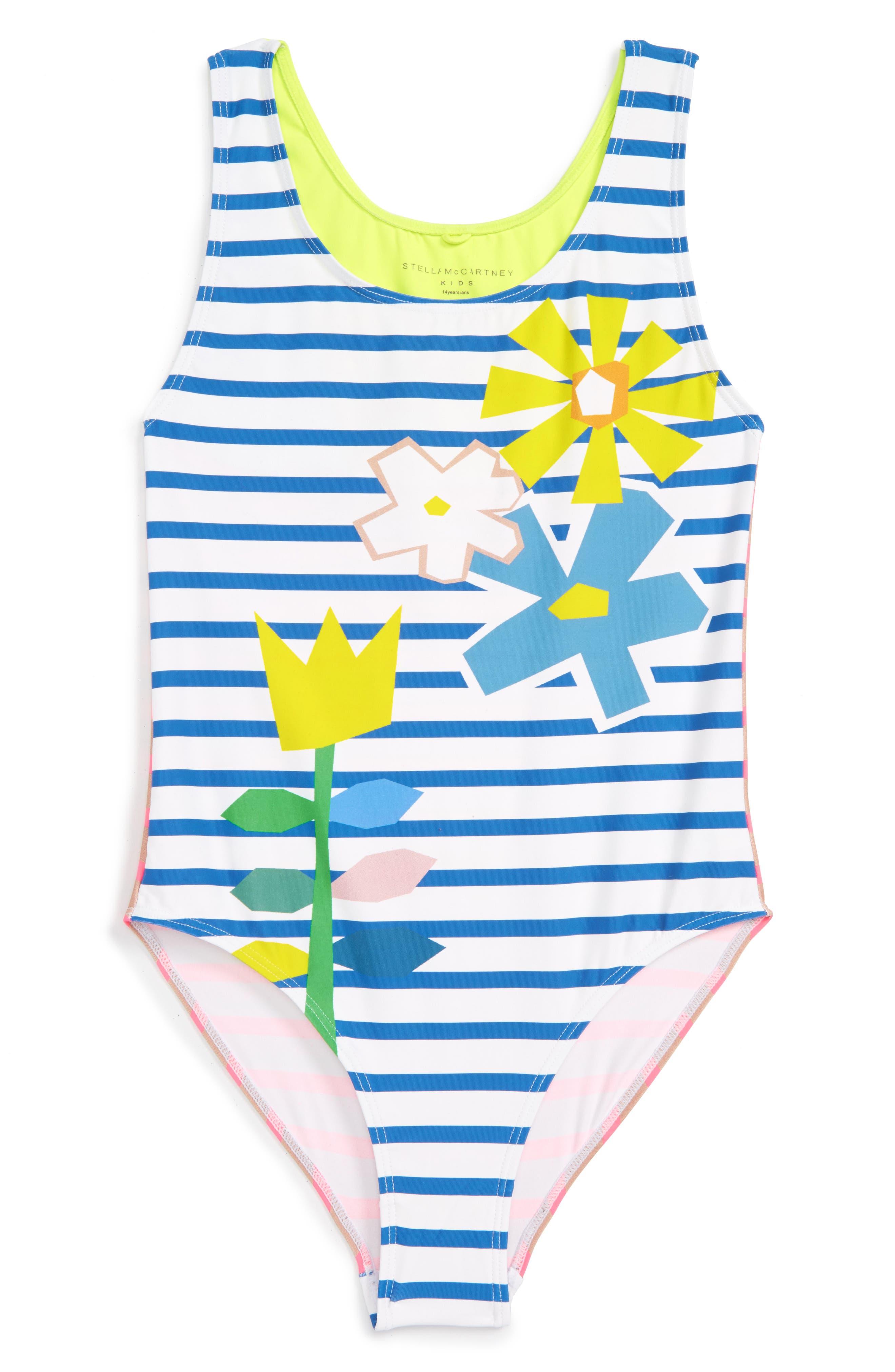 Stella McCartney Kids Floral Stripe One-Piece Swimsuit (Toddler Girls, Little Girls & Big Girls)