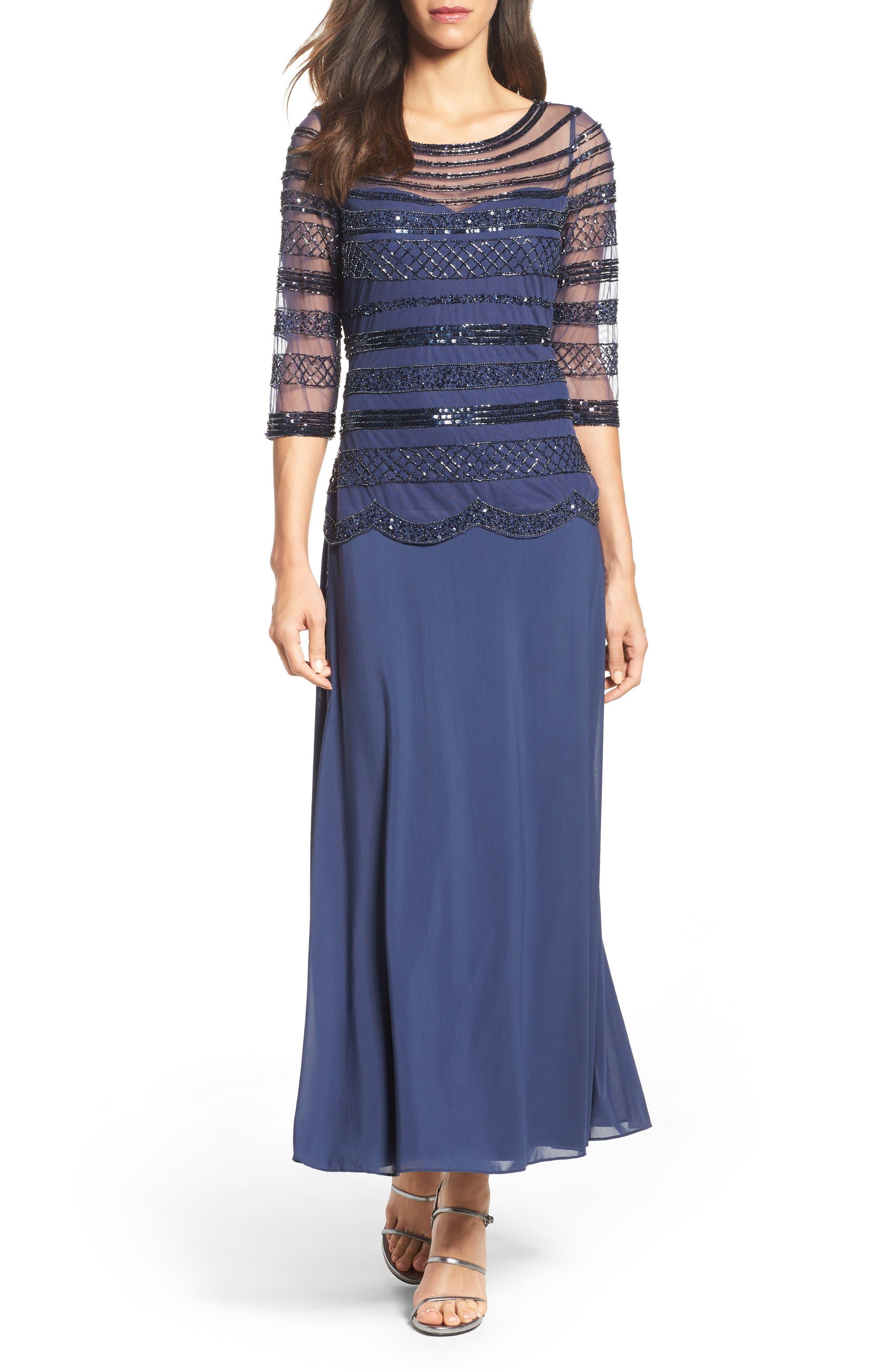 Pisarro Nights Embellished Mock Two-Piece Gown (Regular & Petite)