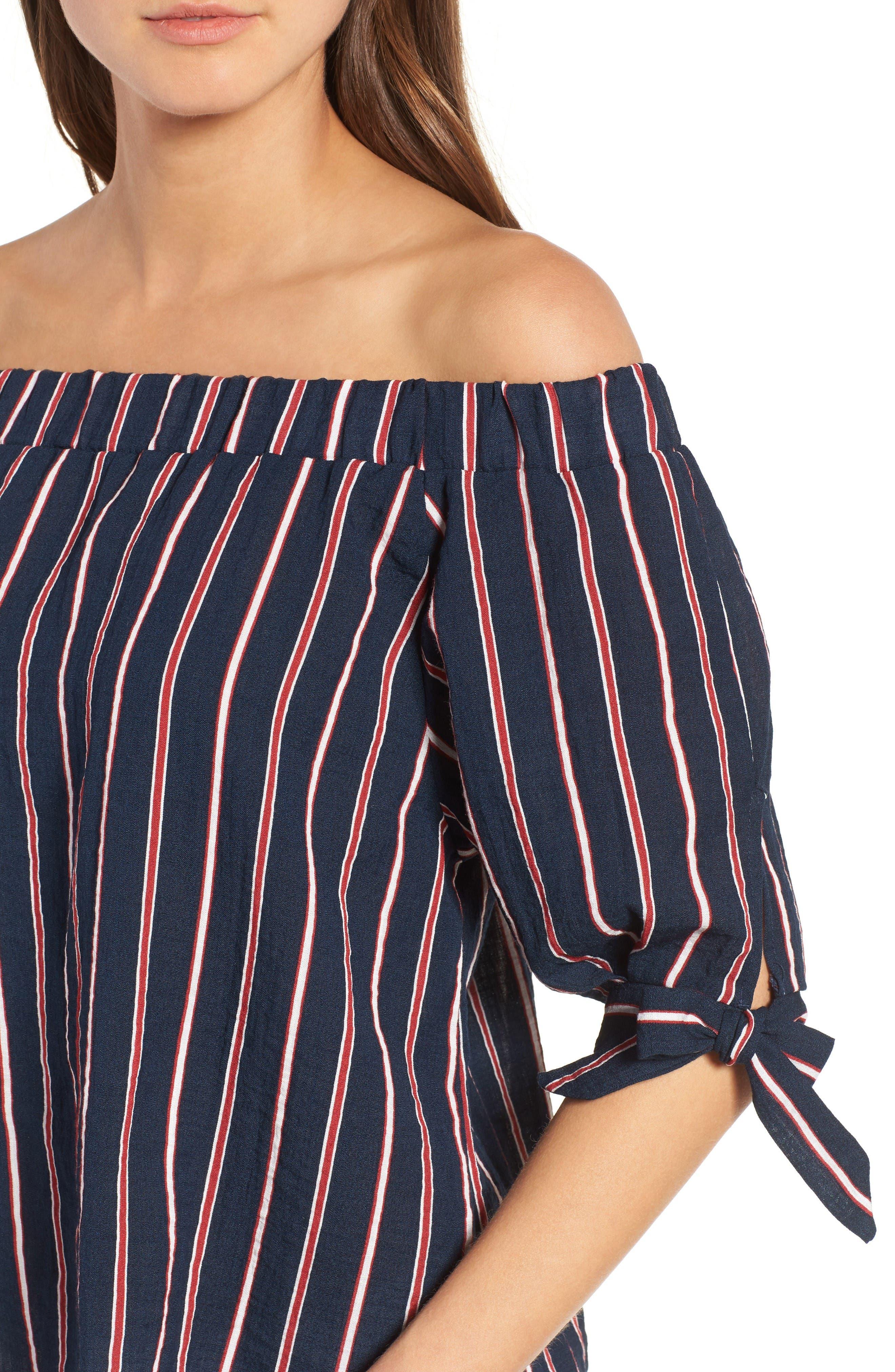 Alternate Image 4  - THML Off the Shoulder Stripe Top
