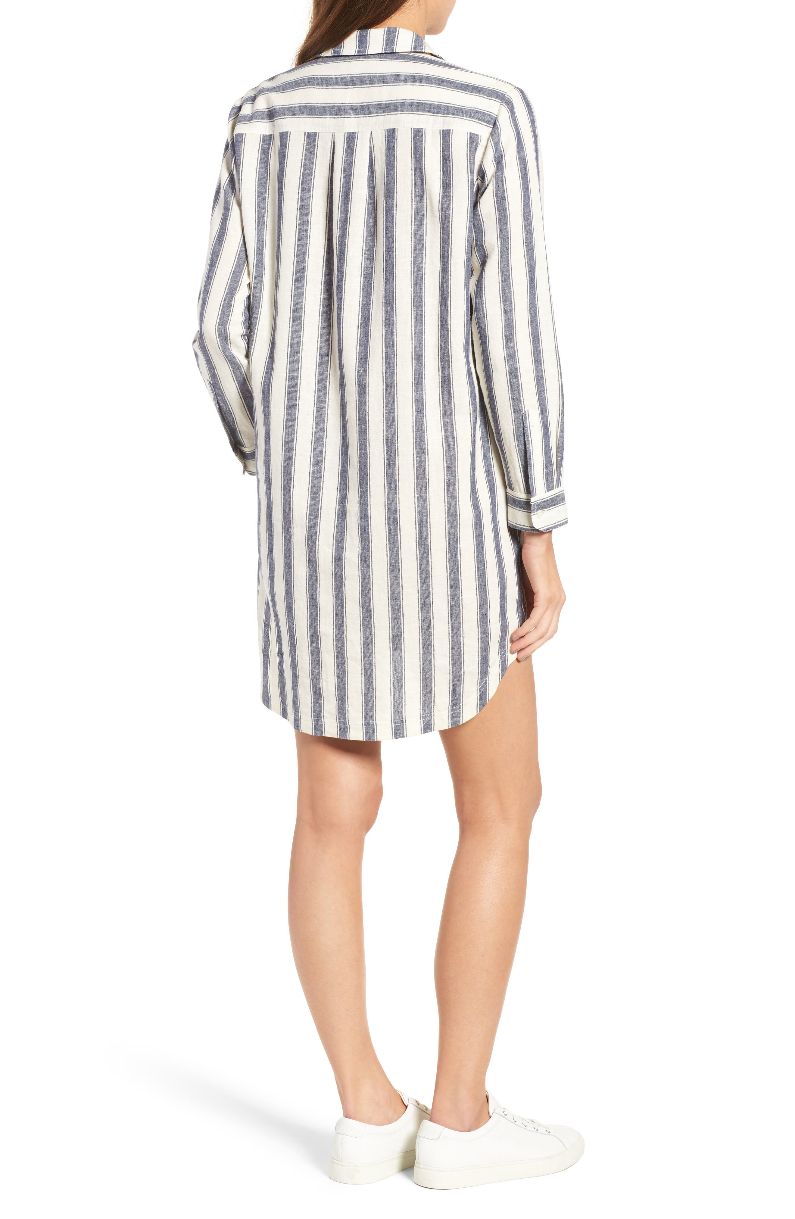 Alternate Image 2  - Madewell Stripe Linen & Cotton Shirtdress