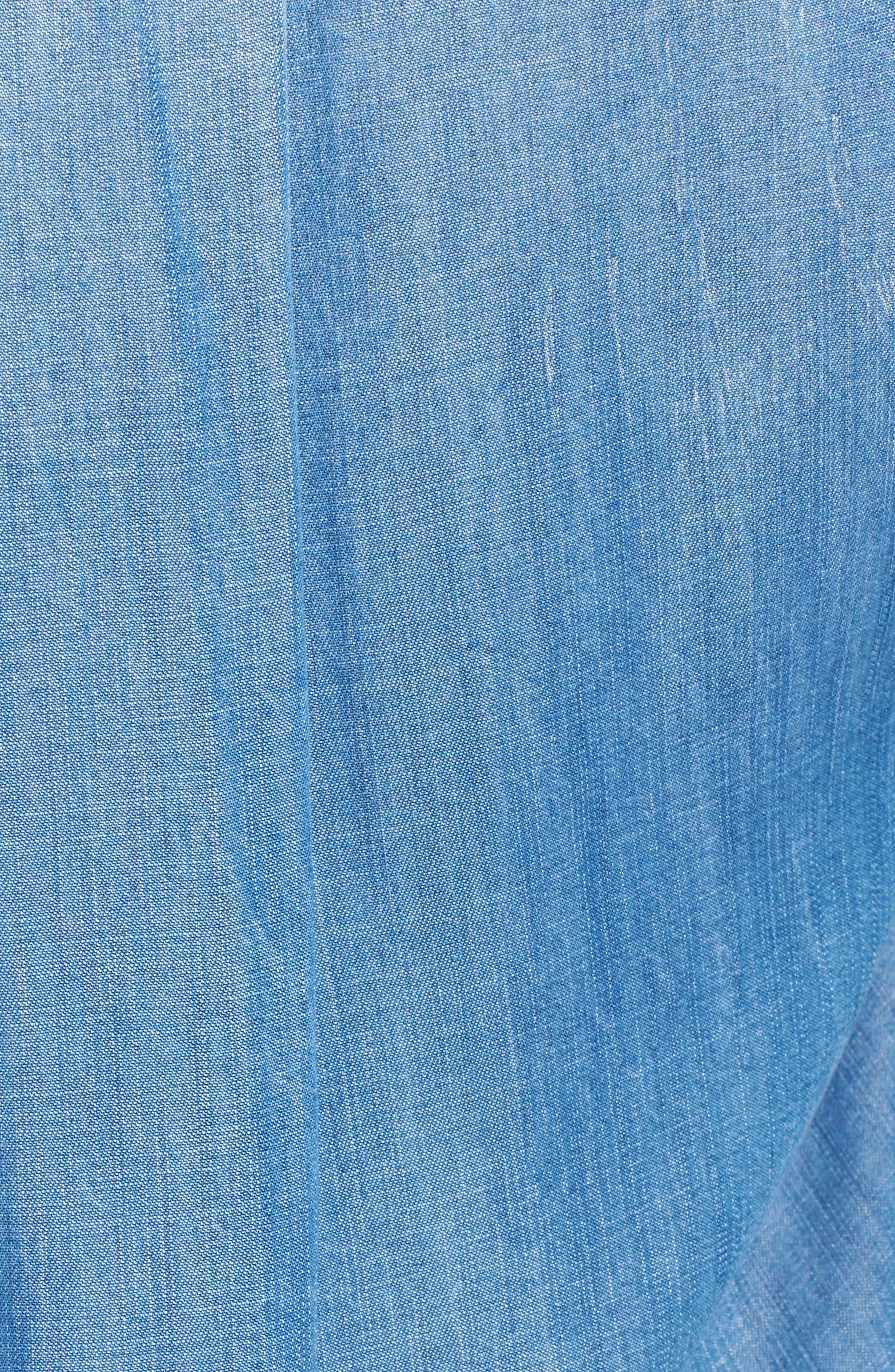 Alternate Image 5  - Side Stitch Frayed Hem Denim Shirtdress