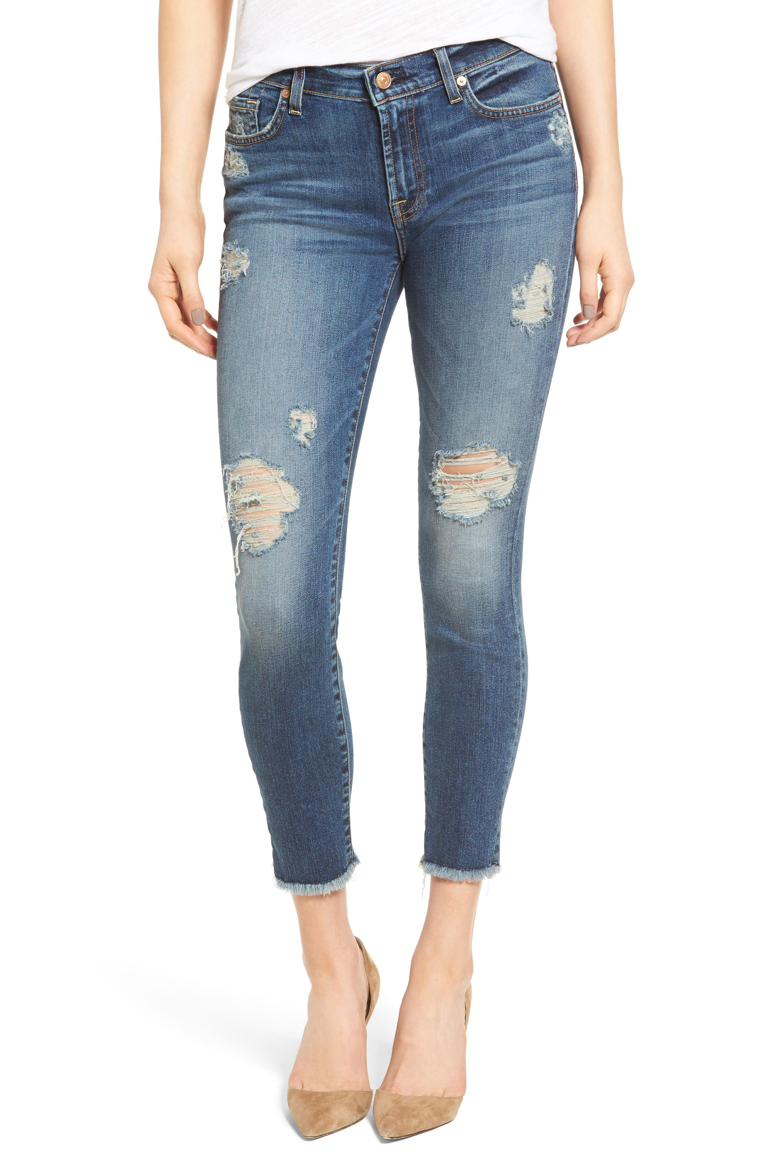 7 For All Mankind® The High Waist Ankle Skinny Destroyed Jeans (Serratoga Bay)