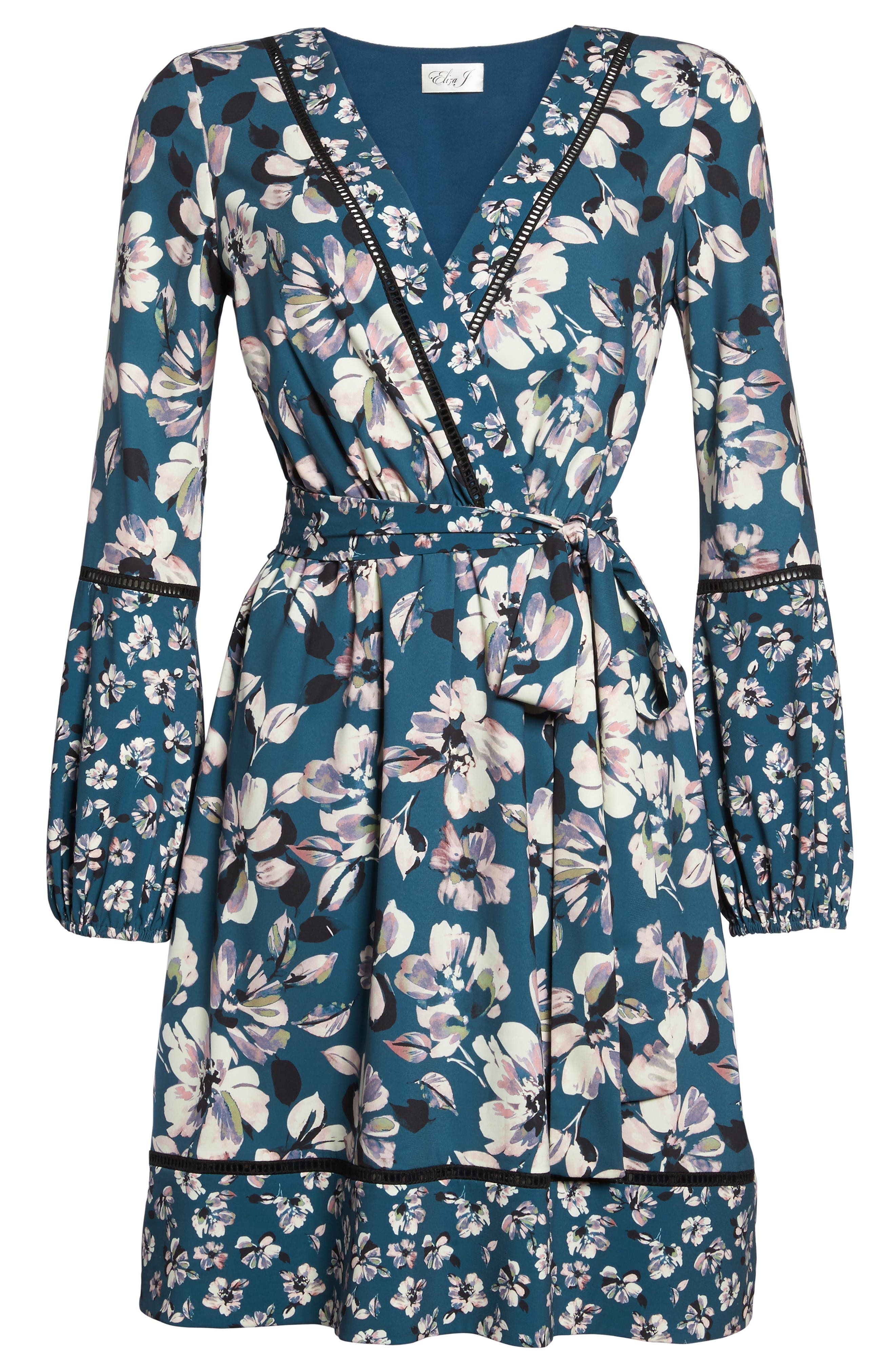 Alternate Image 7  - Eliza J Print Bell Sleeve Faux Wrap Dress (Regular & Petite)