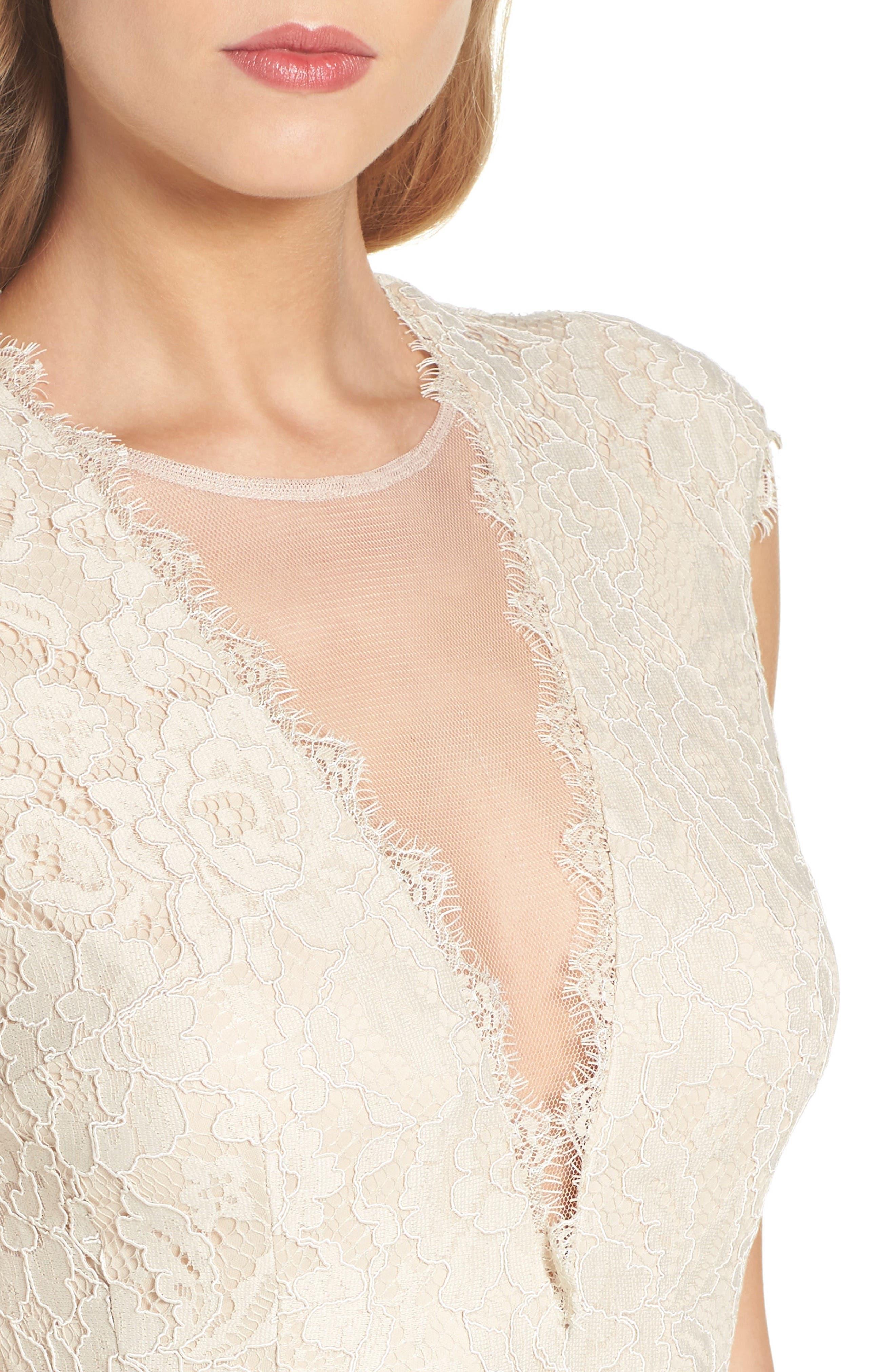 Alternate Image 5  - Aidan by Aidan Mattox Open Back Lace Sheath Dress