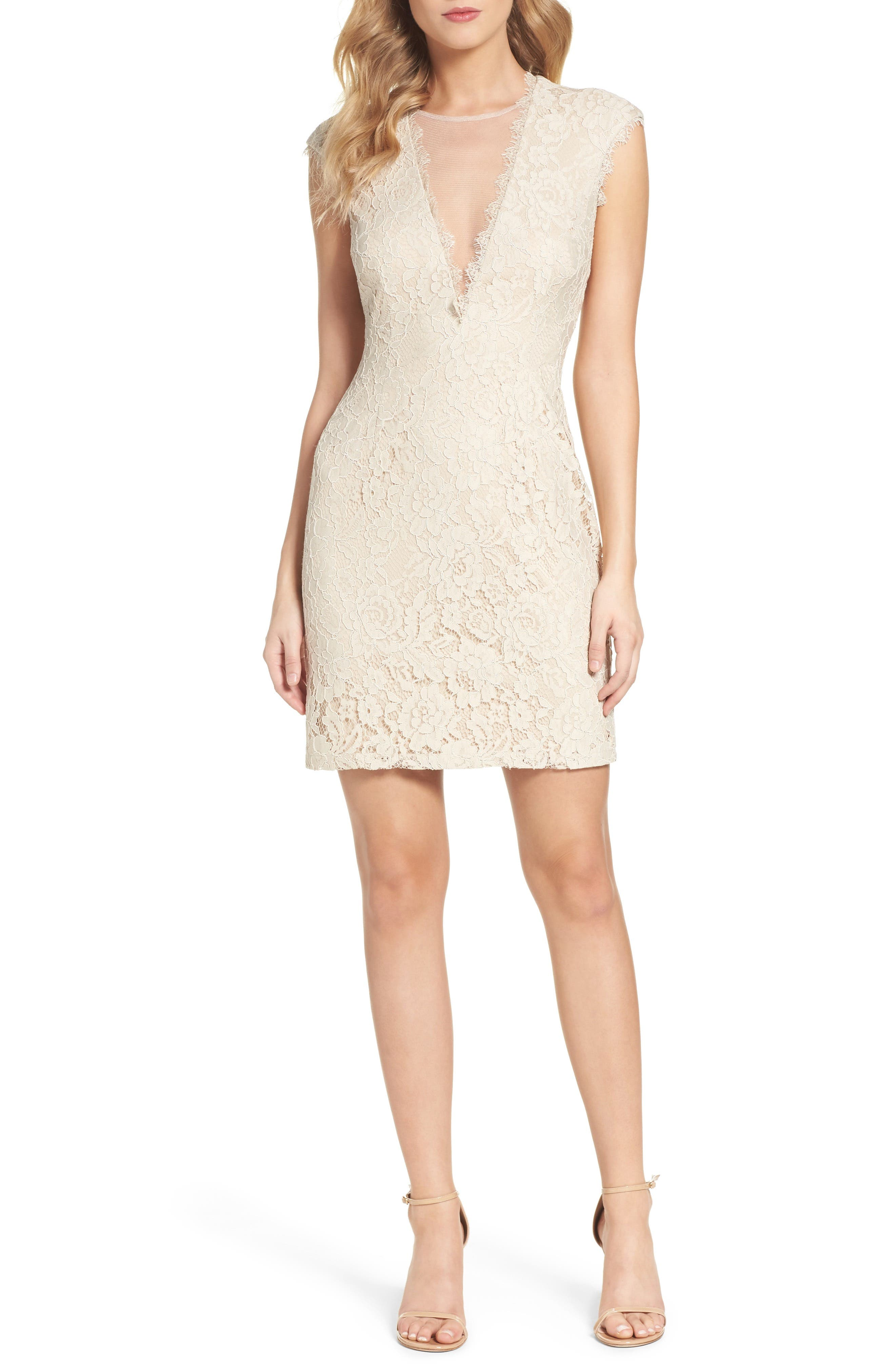 Aidan by Aidan Mattox Open Back Lace Sheath Dress