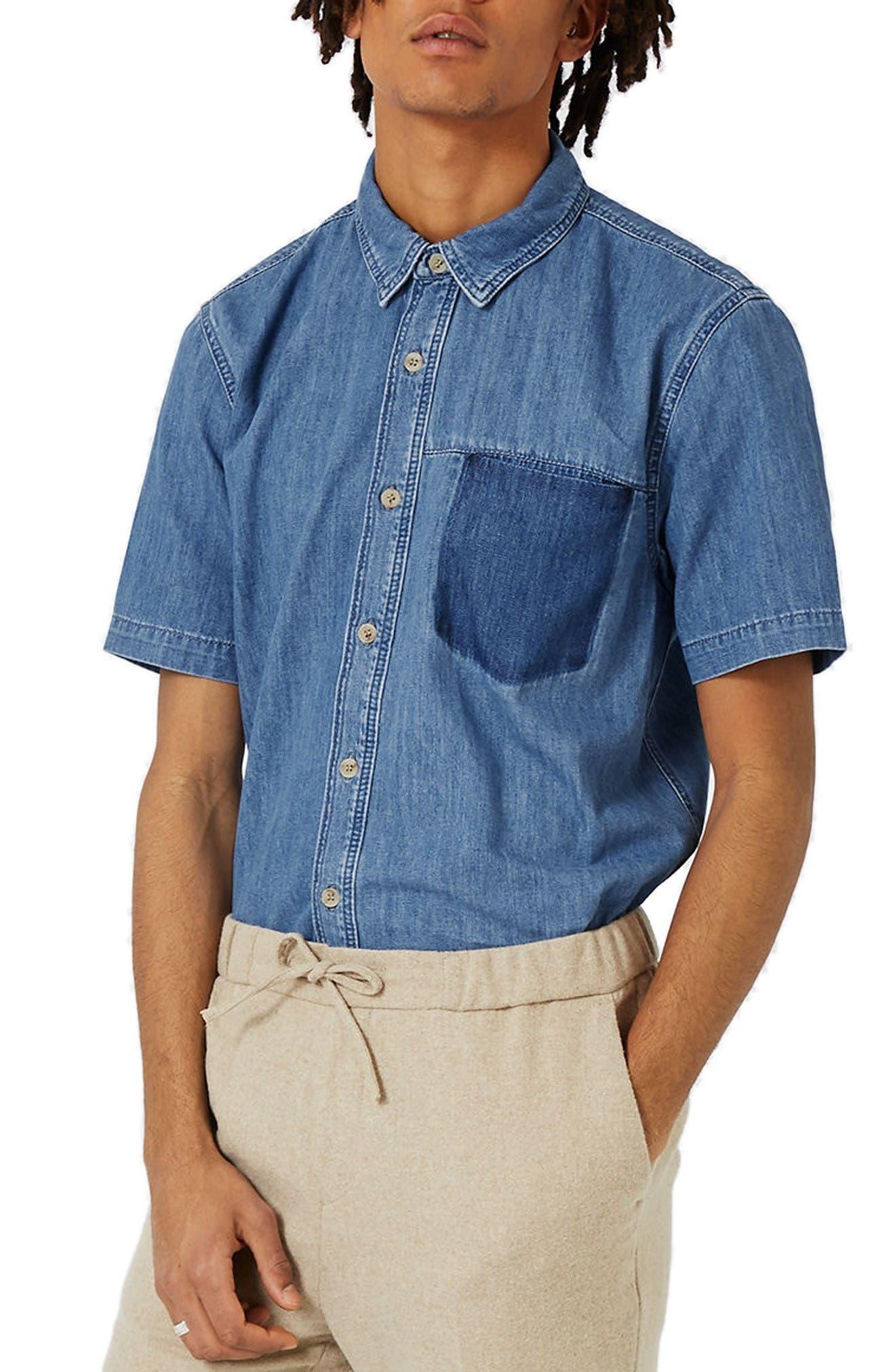Topman Shadow Pocket Denim Shirt