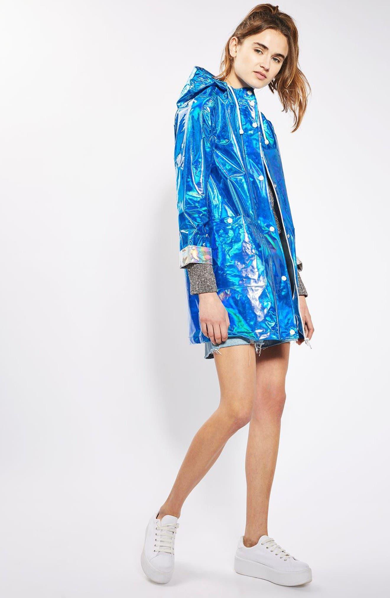 Alternate Image 2  - Topshop Iridescent Rain Jacket
