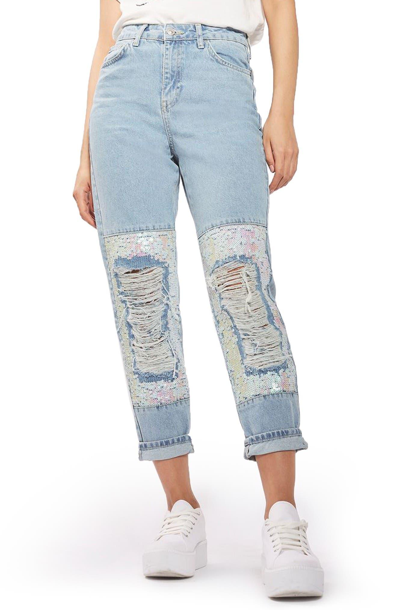 Main Image - Topshop Ripped Sequin Knee Mom Jeans (Regular & Petite)