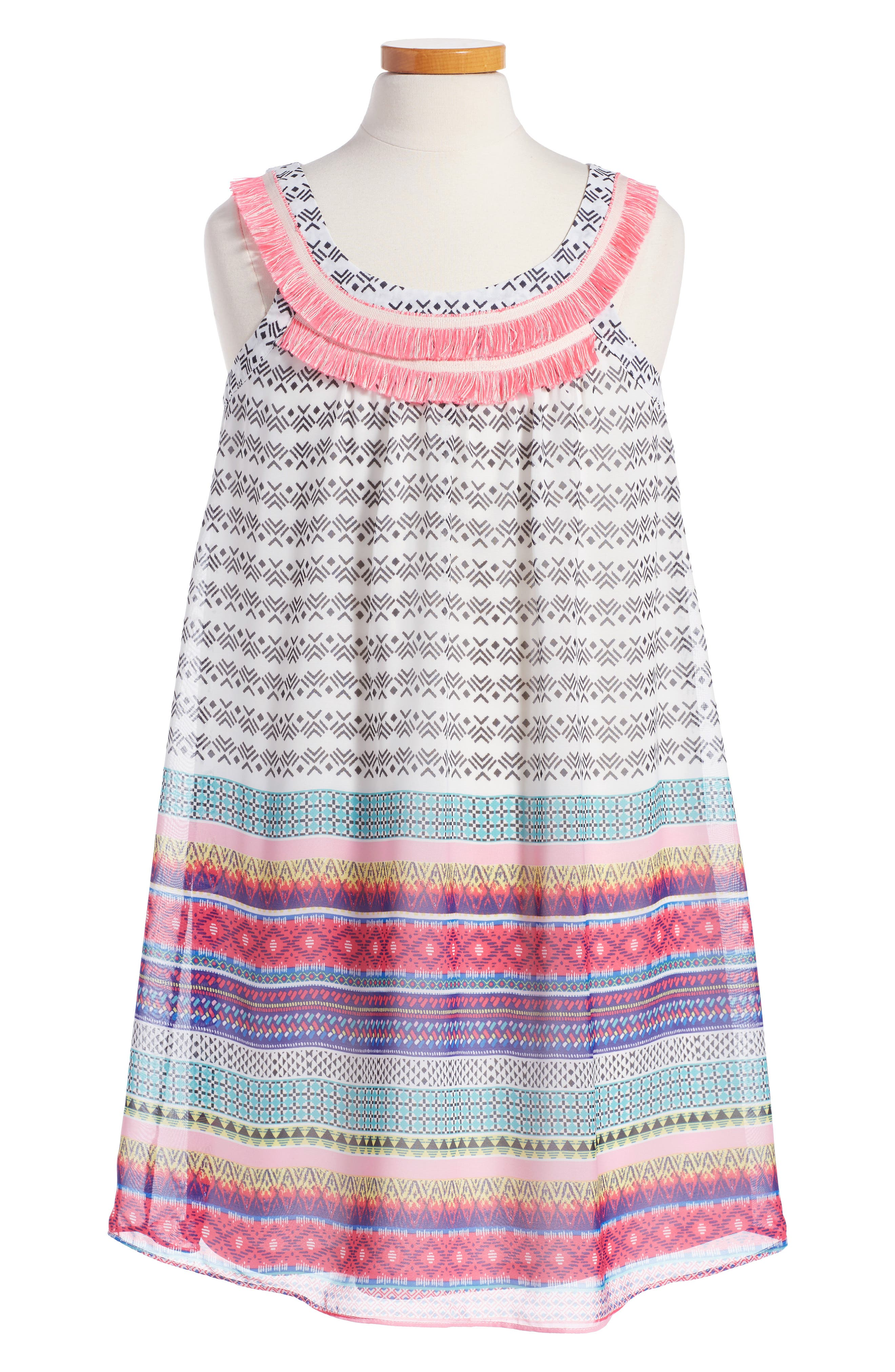 Truly Me Mixed Print Sleeveless Dress (Big Girls)