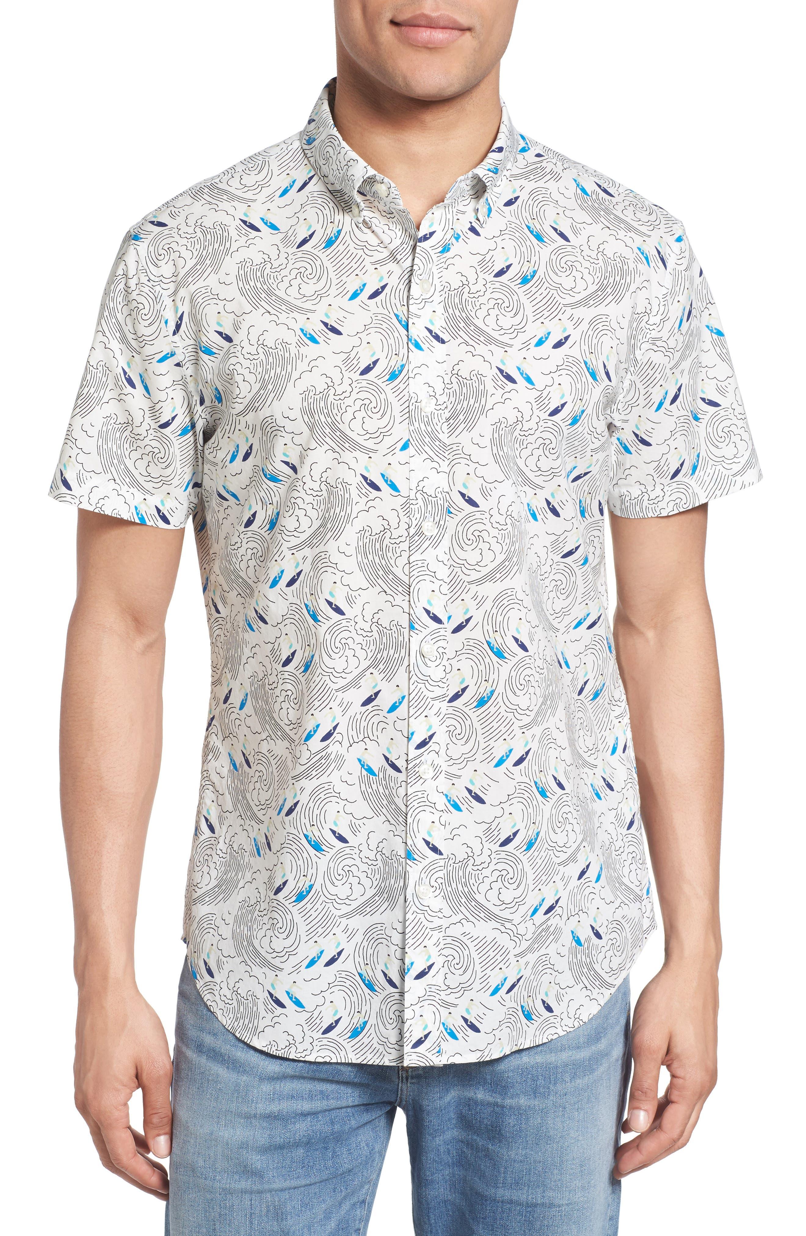 Bonobos Slim Fit Surf Print Short Sleeve Sport Shirt