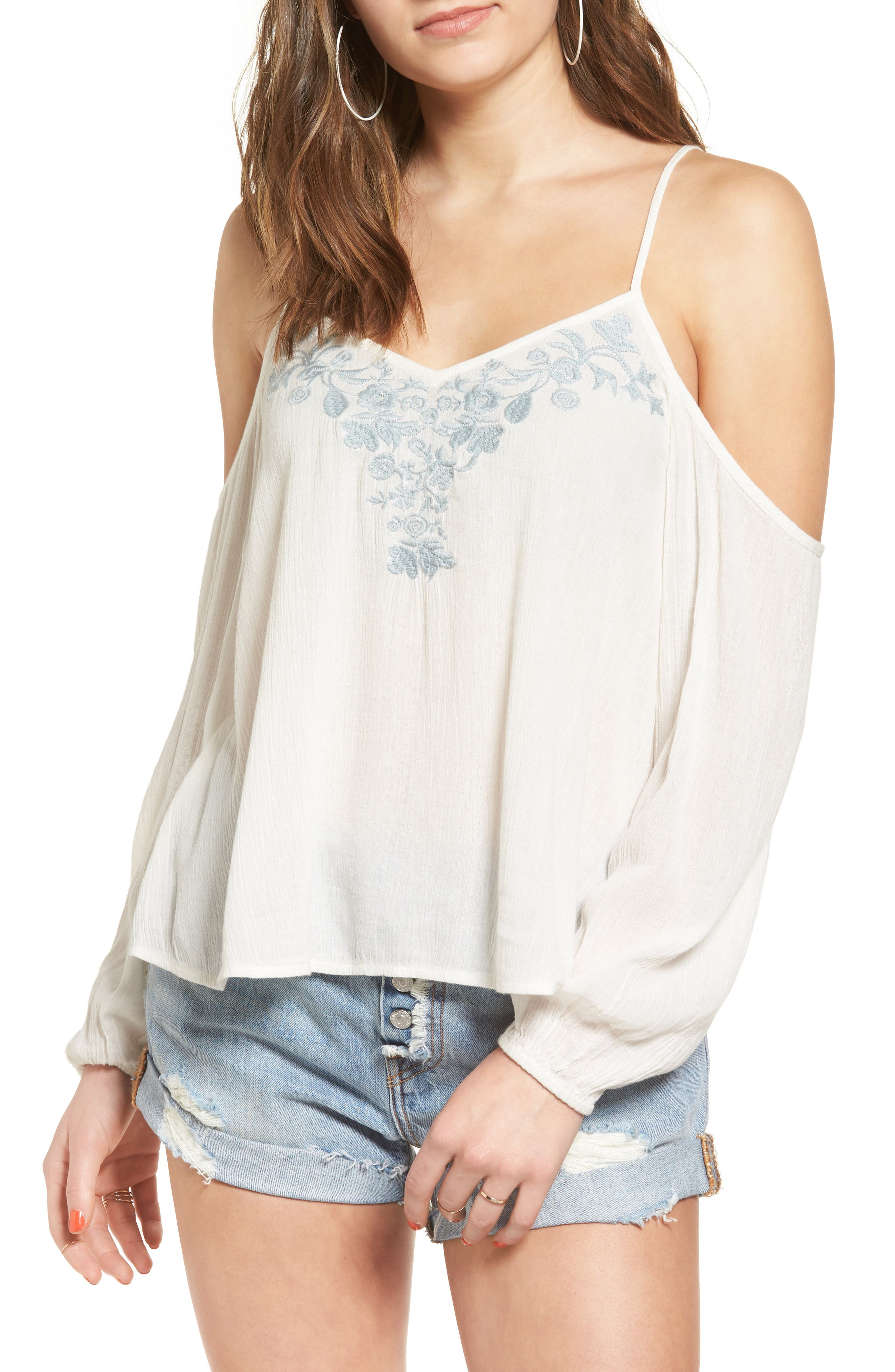 BP. Embroidered Cold Shoulder Blouse
