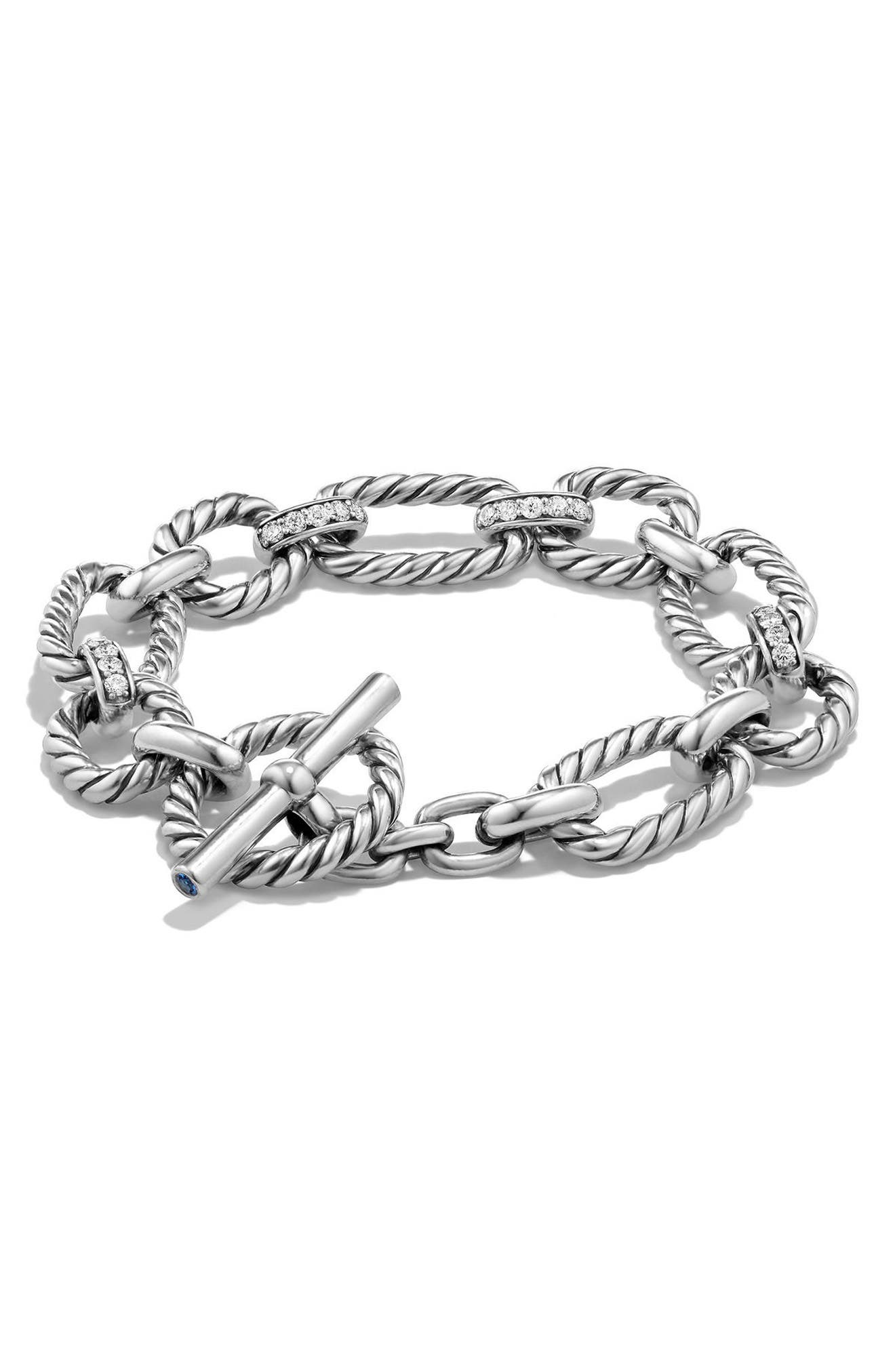 DAVID YURMAN 'Chain' Cushion Link Bracelet with Diamonds
