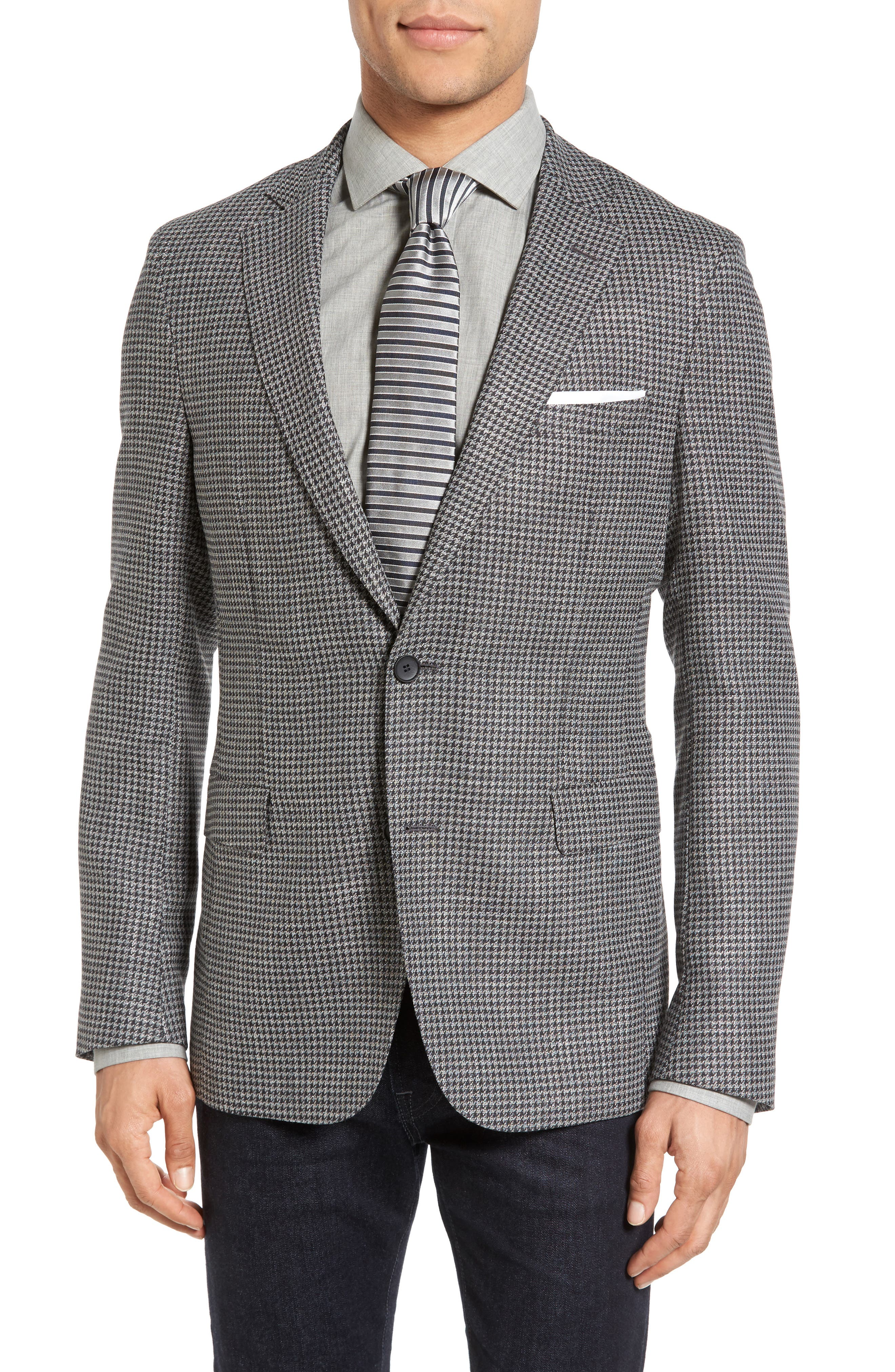 BOSS Roan Trim Fit Houndstooth Wool Blend Sport Coat