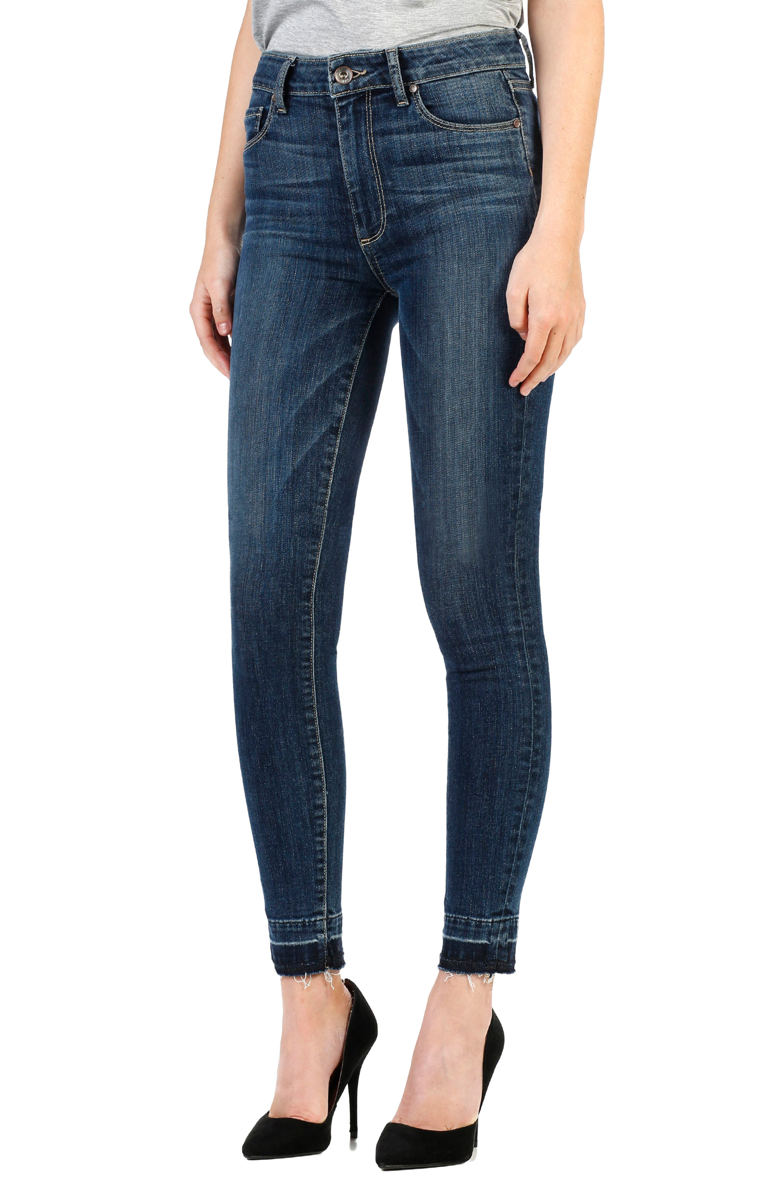 PAIGE Hoxton High Waist Ankle Skinny Jeans (Sandy)