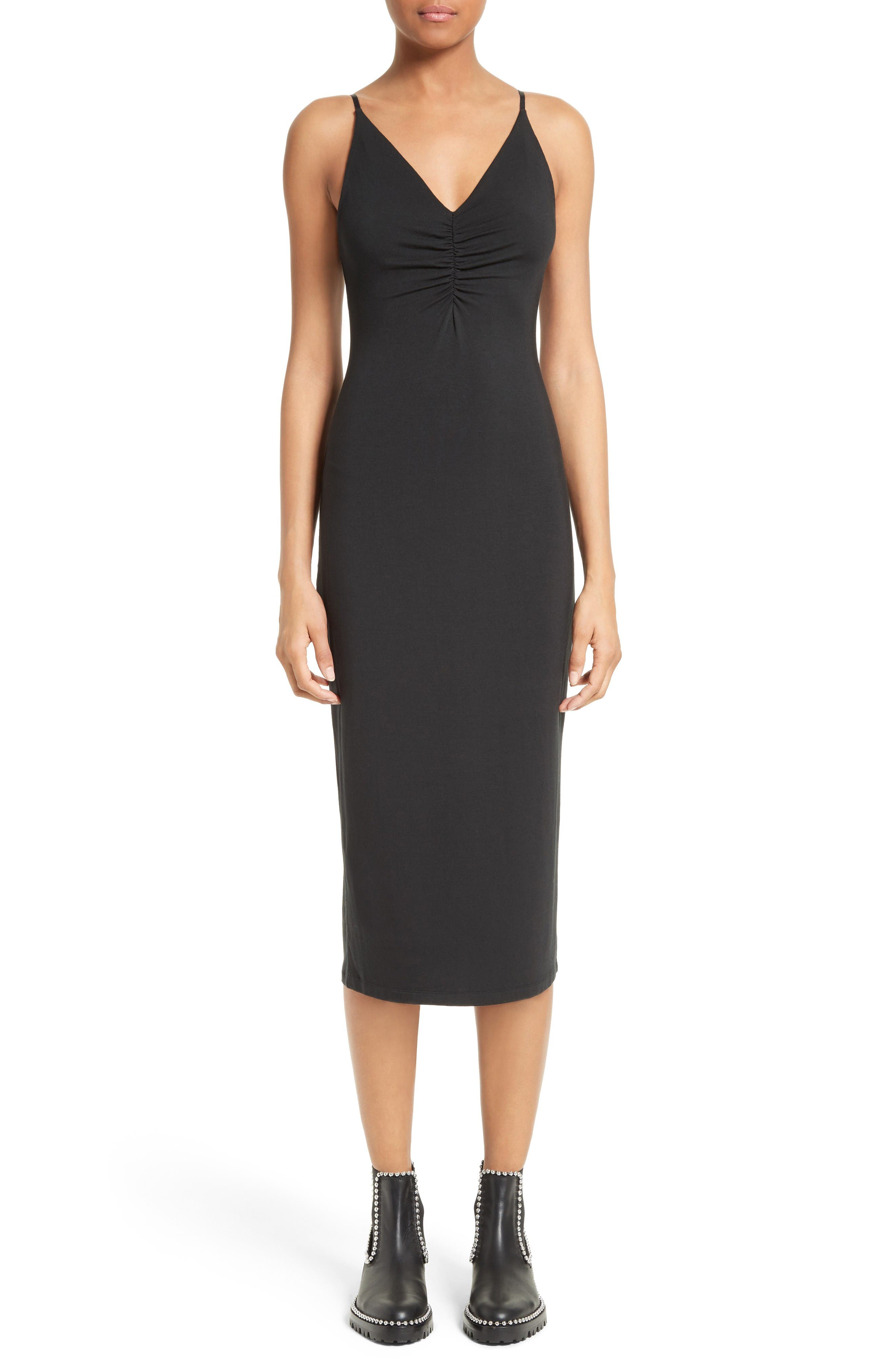 T by Alexander Wang Shirred Front Midi Dress