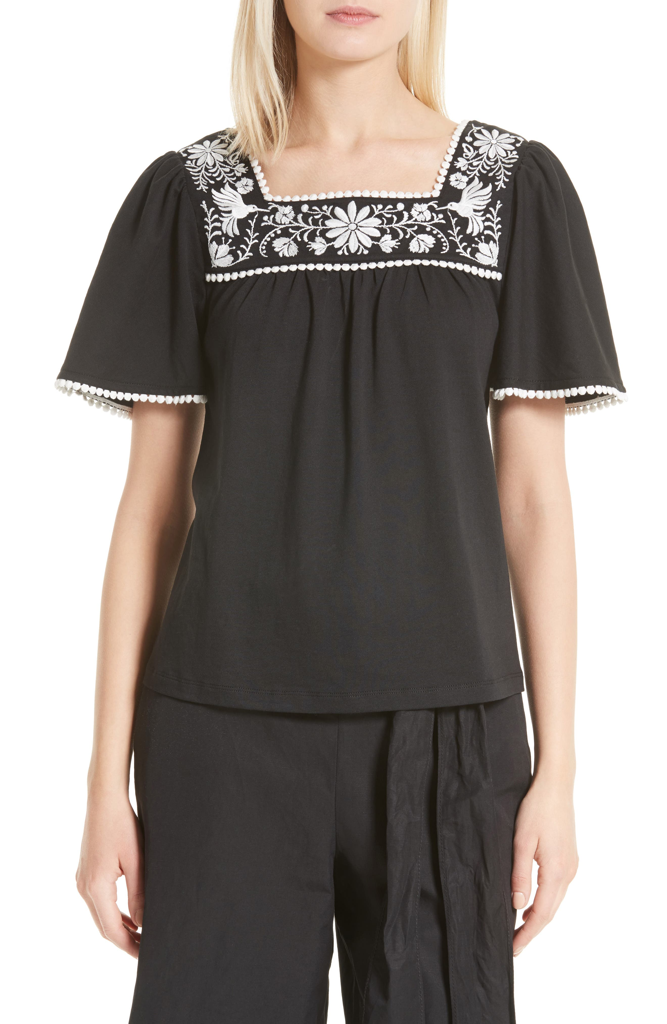 kate spade new york embroidered top