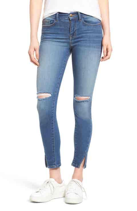 SP Black Slit Knee Skinny Jeans