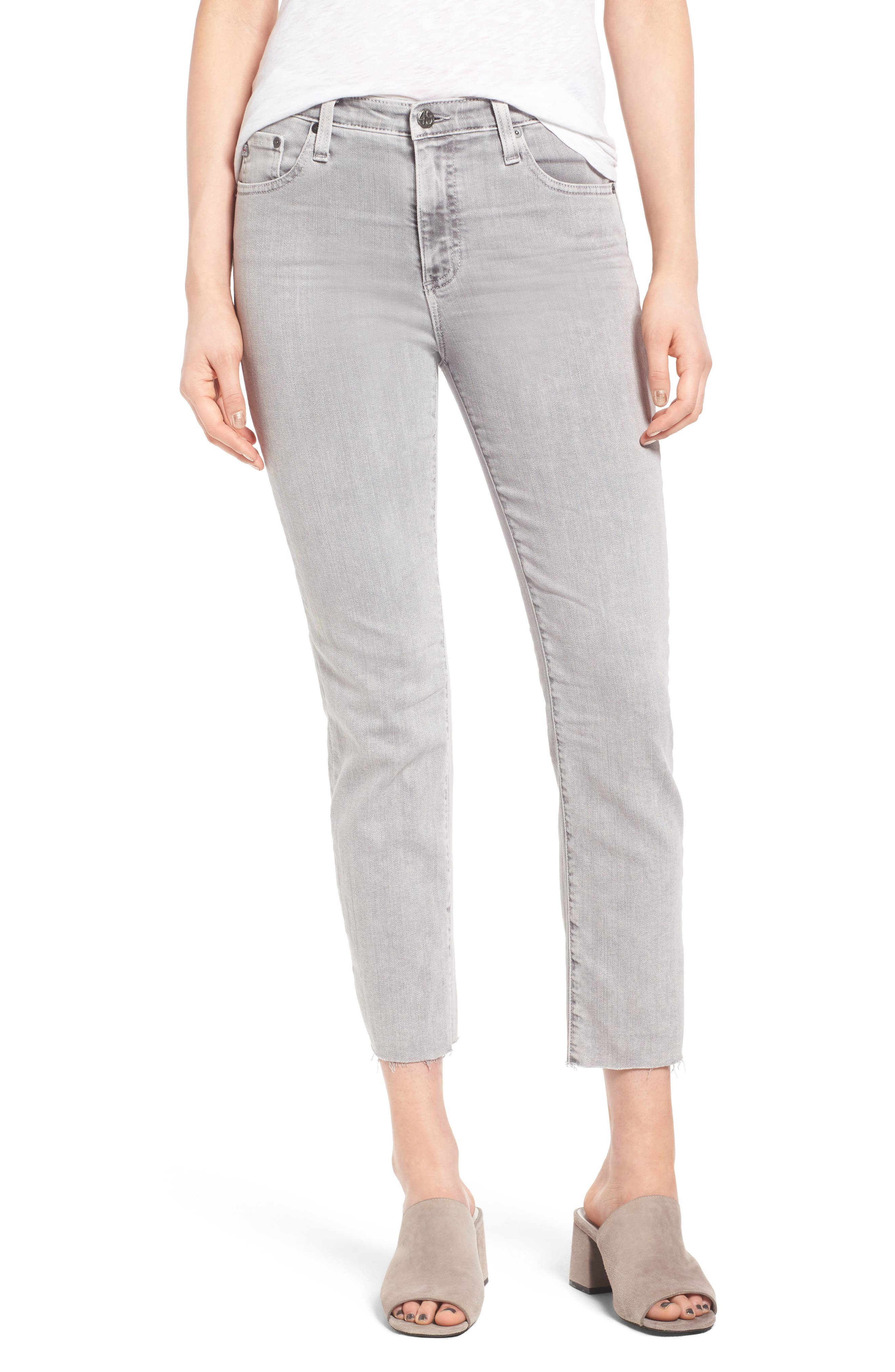Alternate Image 1 Selected - AG The Isabelle High Waist Crop Straight Leg Jeans