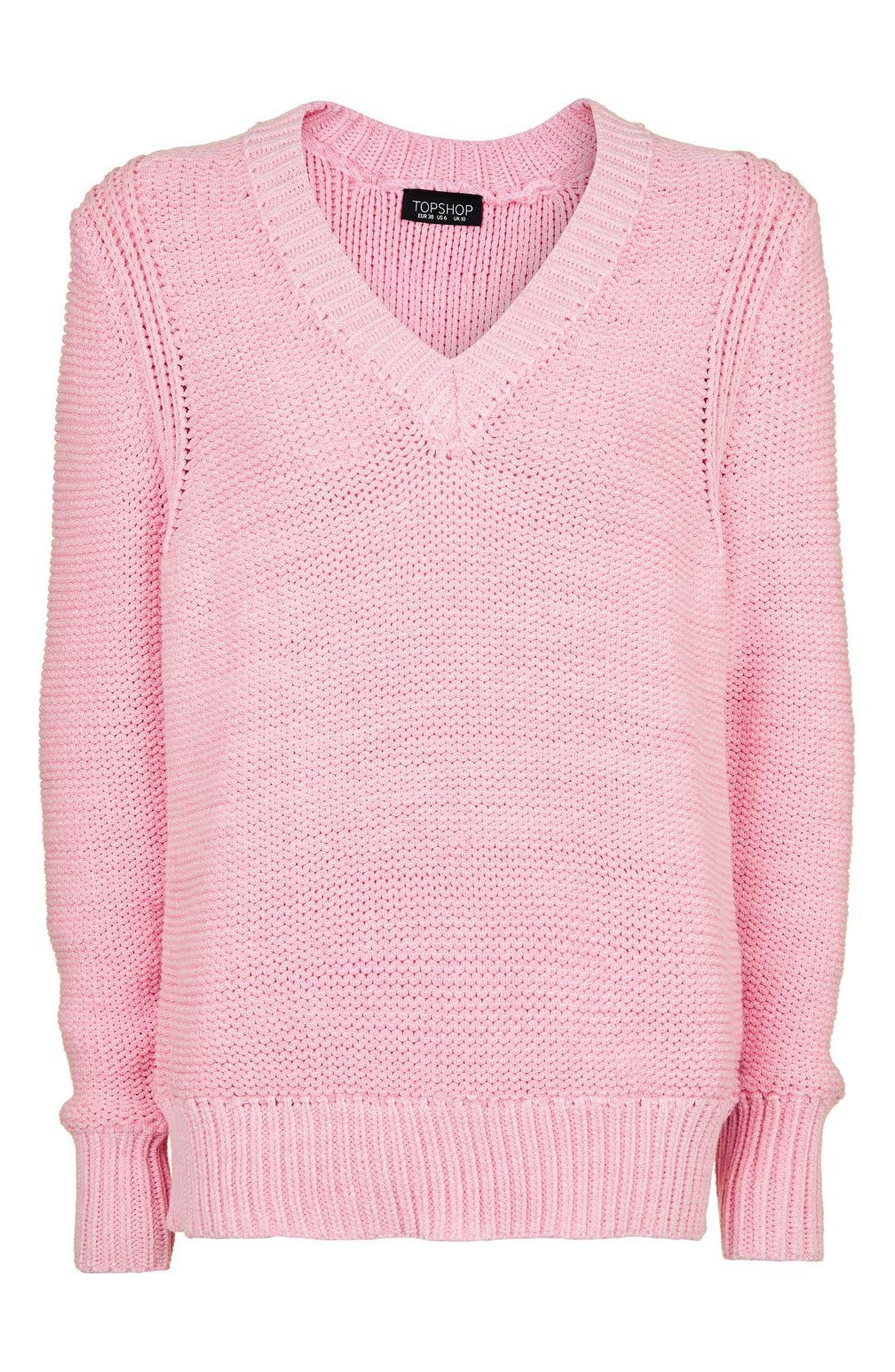 Alternate Image 4  - Topshop Oversize V-Neck Sweater