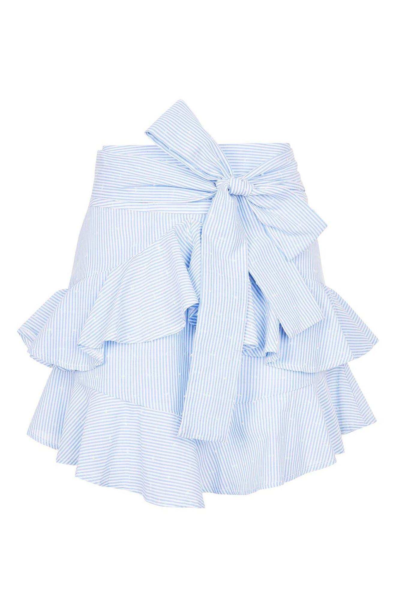 Alternate Image 3  - Topshop Dobby Stripe Ruffle Skirt