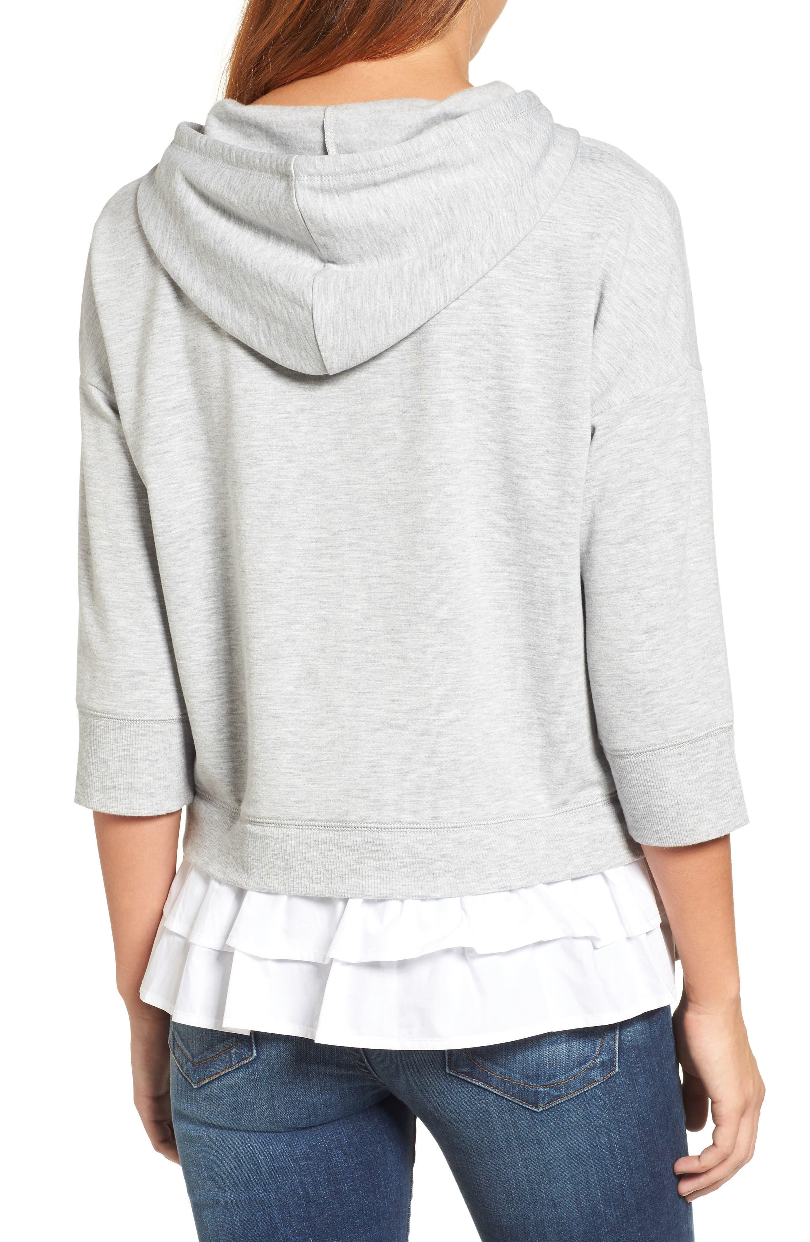 Alternate Image 2  - Caslon® Woven Inset Knit Hoodie (Regular & Petite)