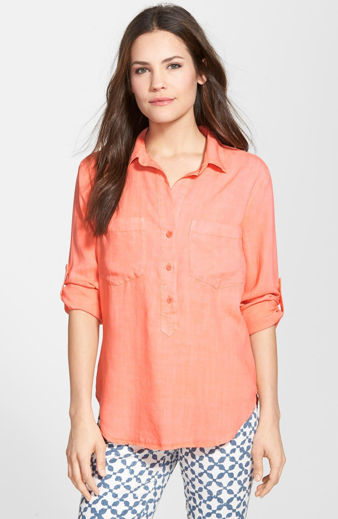 Alternate Image 1 Selected - Side Stitch Roll Tab Sleeve Tencel® Pullover Shirt
