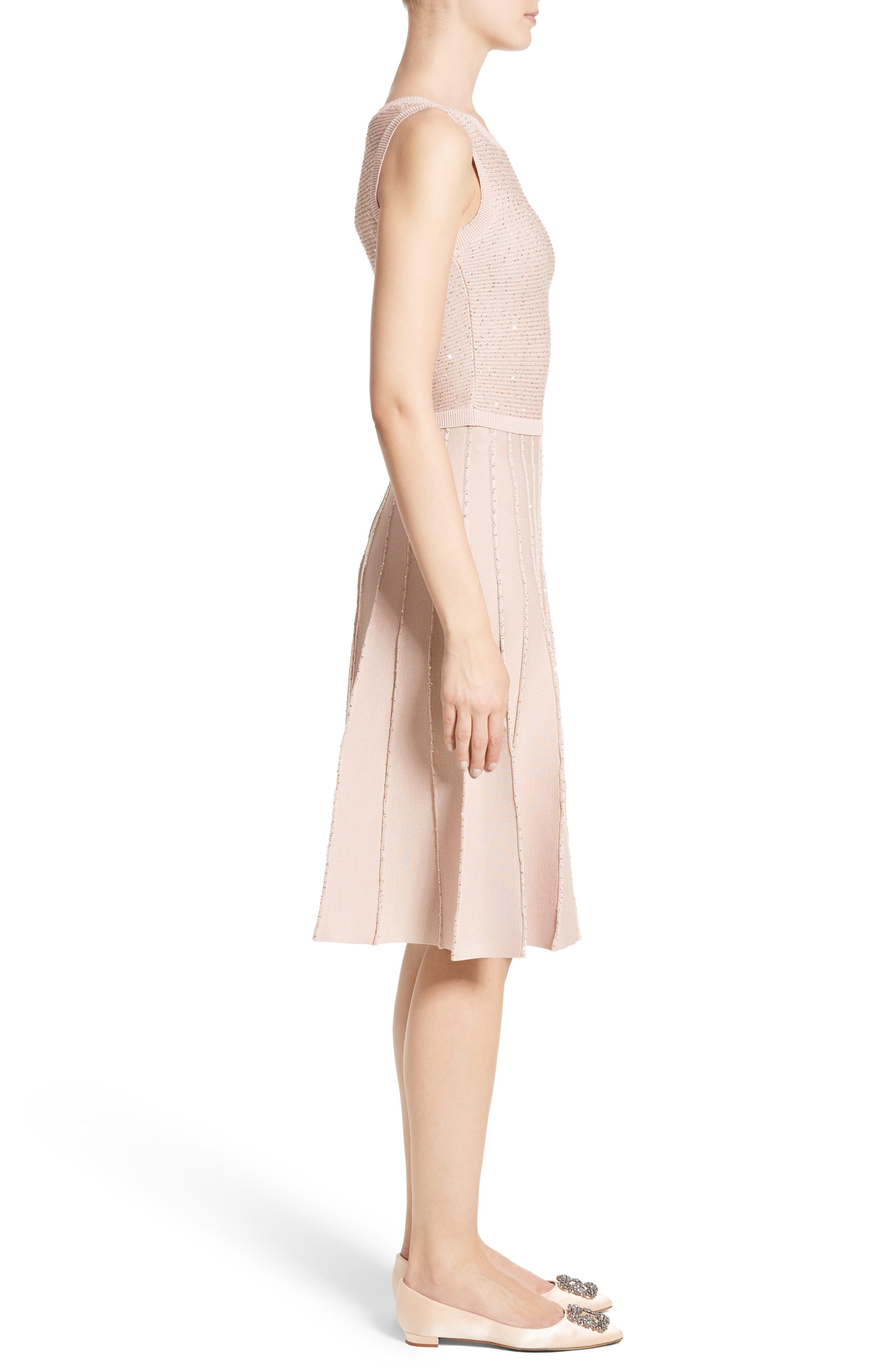 Alternate Image 5  - Oscar de la Renta Sparkle Knit Pleated Dress