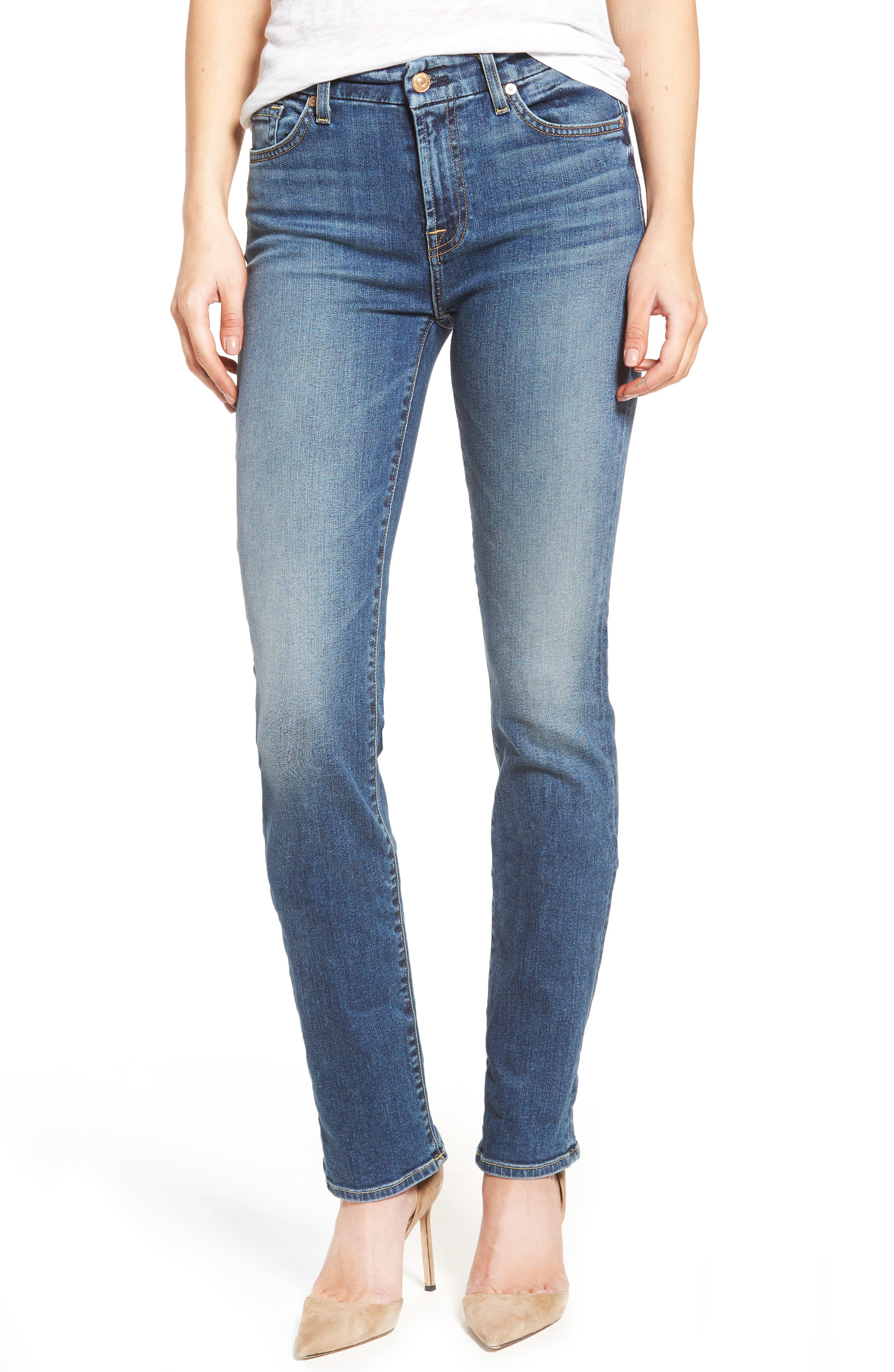 Main Image - 7 For All Mankind® 'Kimmie' Straight Leg Jeans (Seratoga Bay)