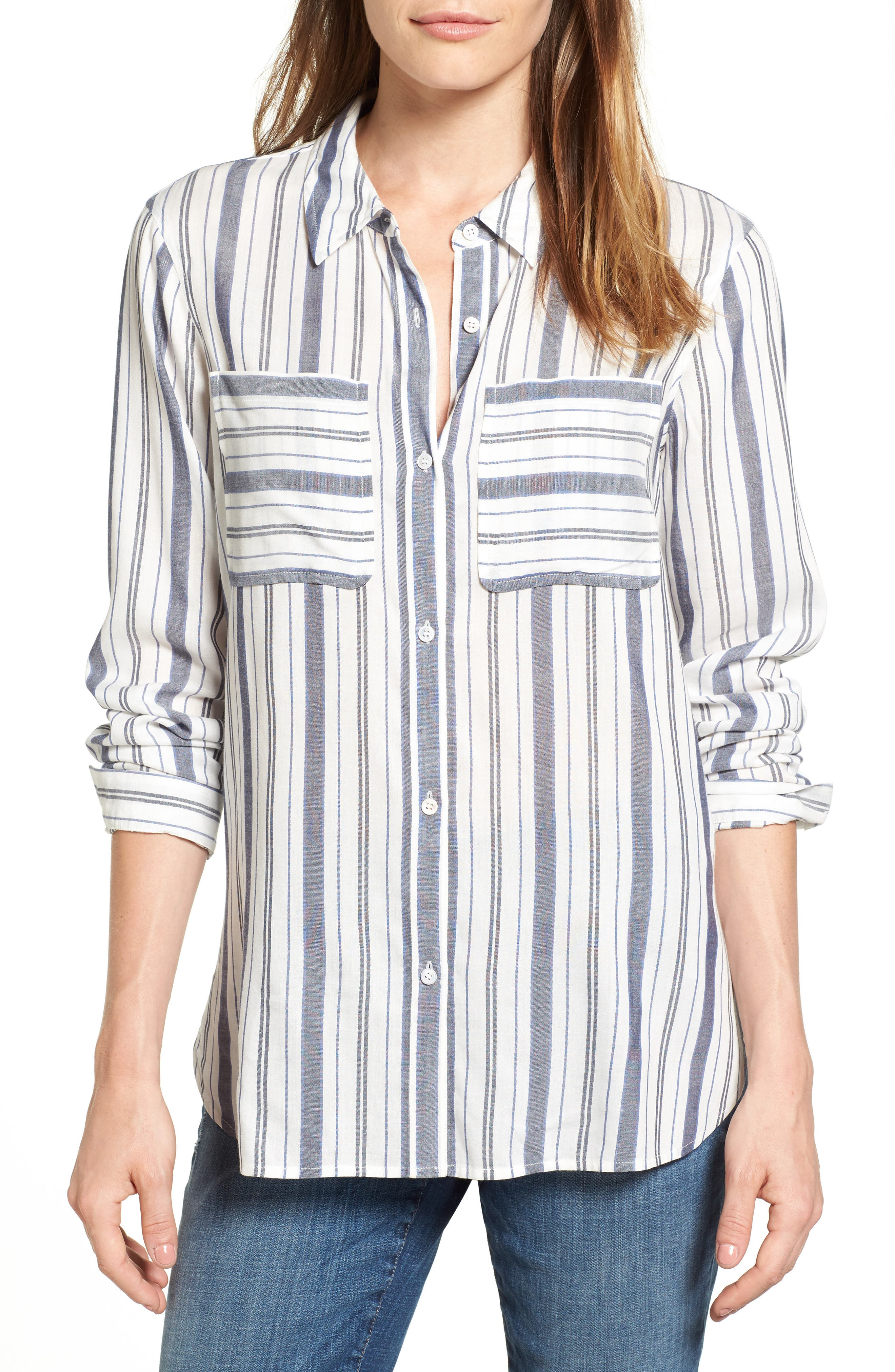 Two by Vince Camuto Variegated Stripe Shirt