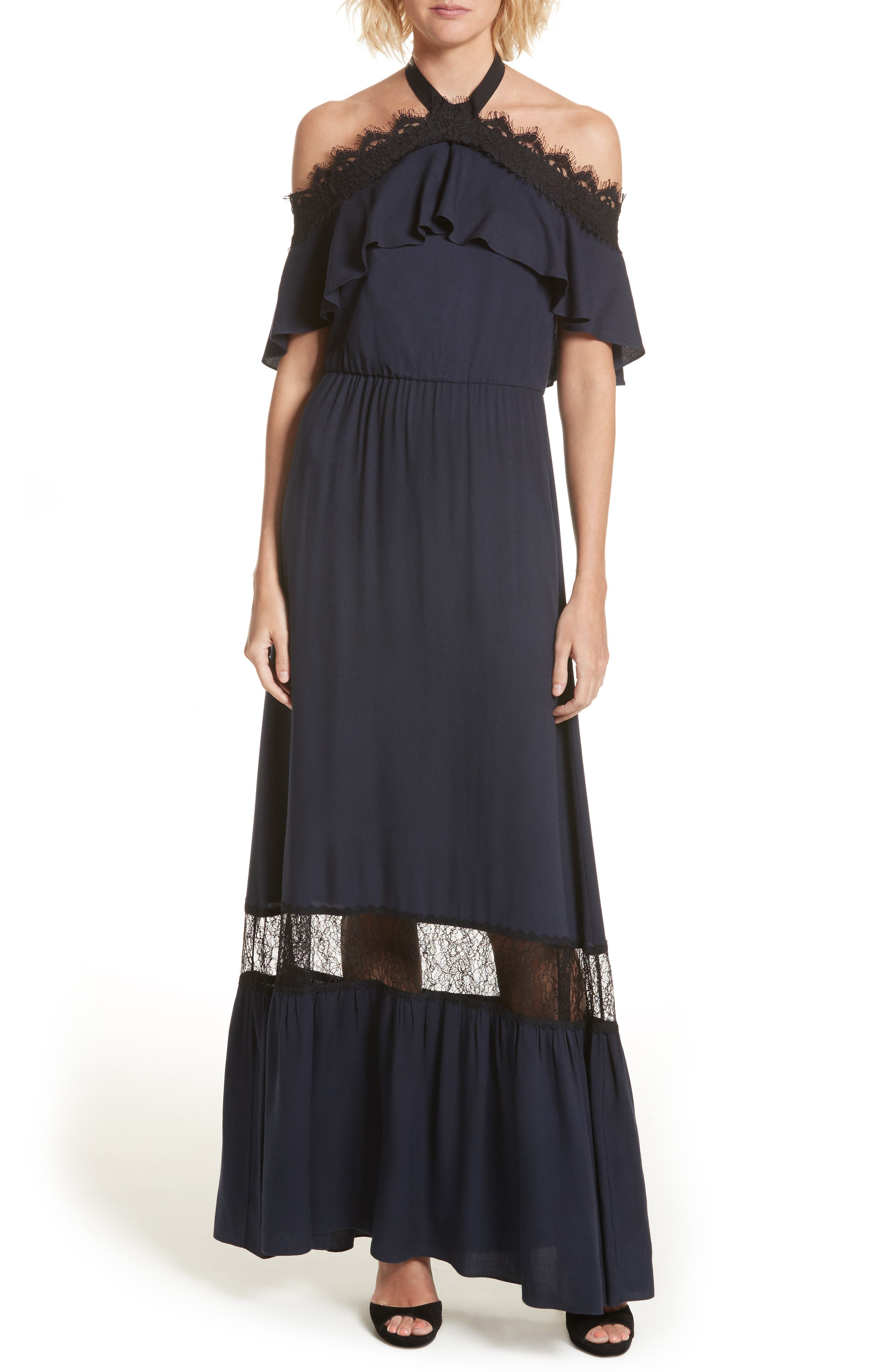 ALICE + OLIVIA Mitsy Halter Maxi Dress