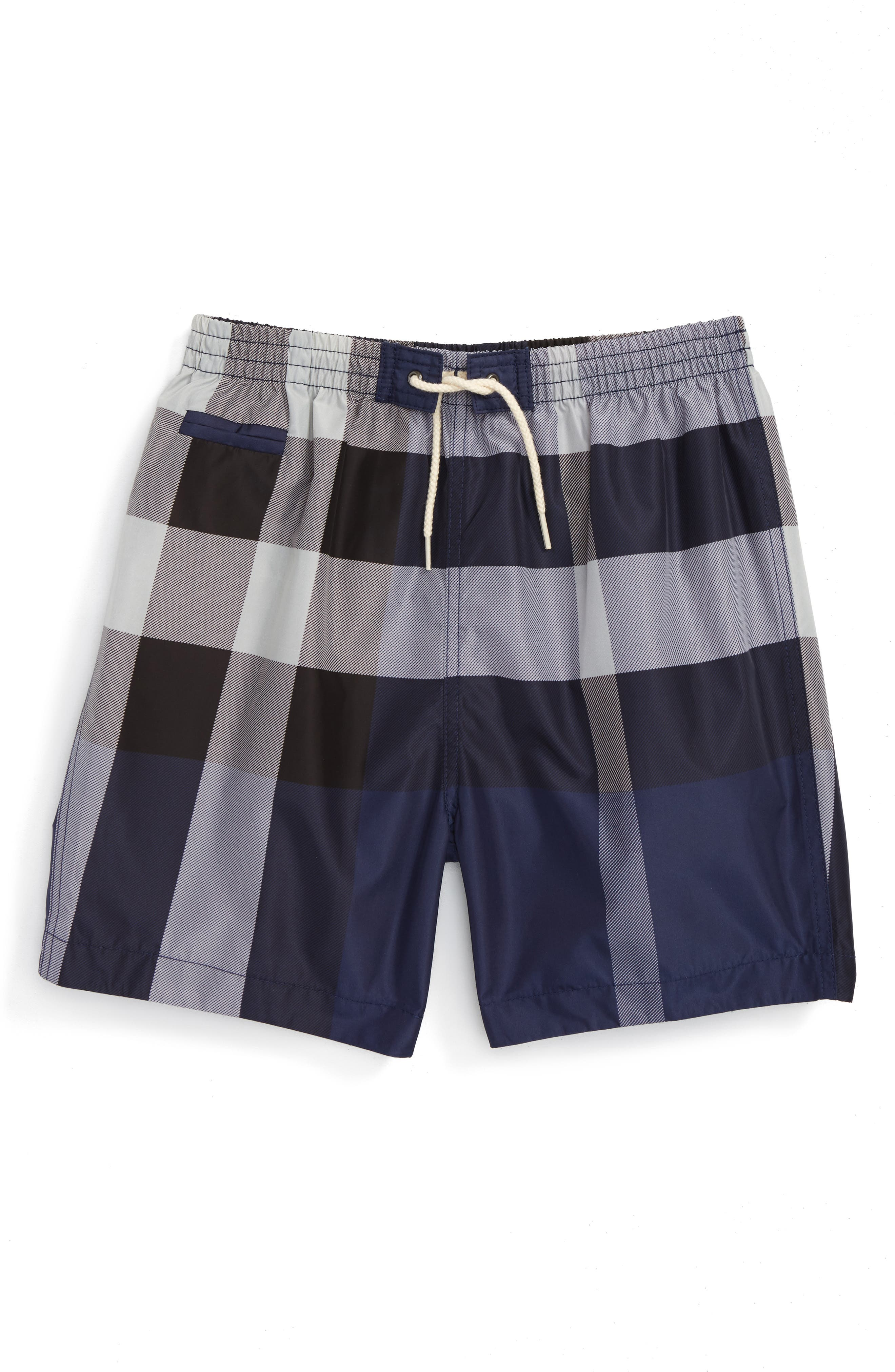 BURBERRY 'Saxon' Check Print Swim Trunks