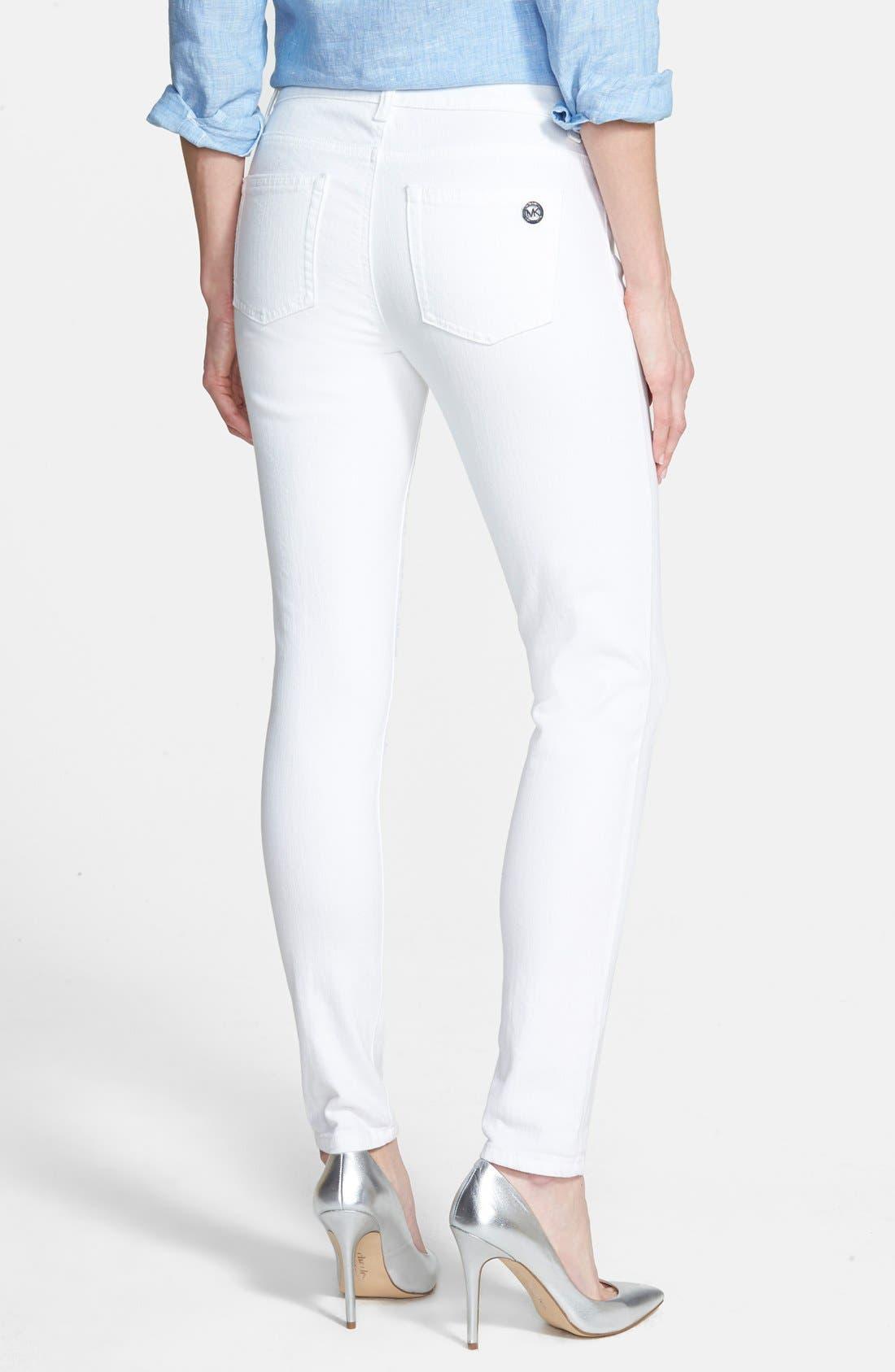 Alternate Image 2  - MICHAEL Michael Kors White Skinny Jeans