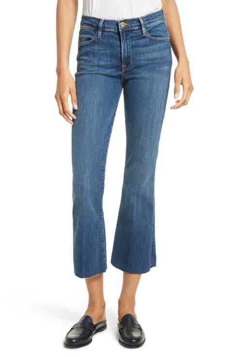 FRAME Le High Flare Raw Edge High Waist Crop Jeans (Neosho)