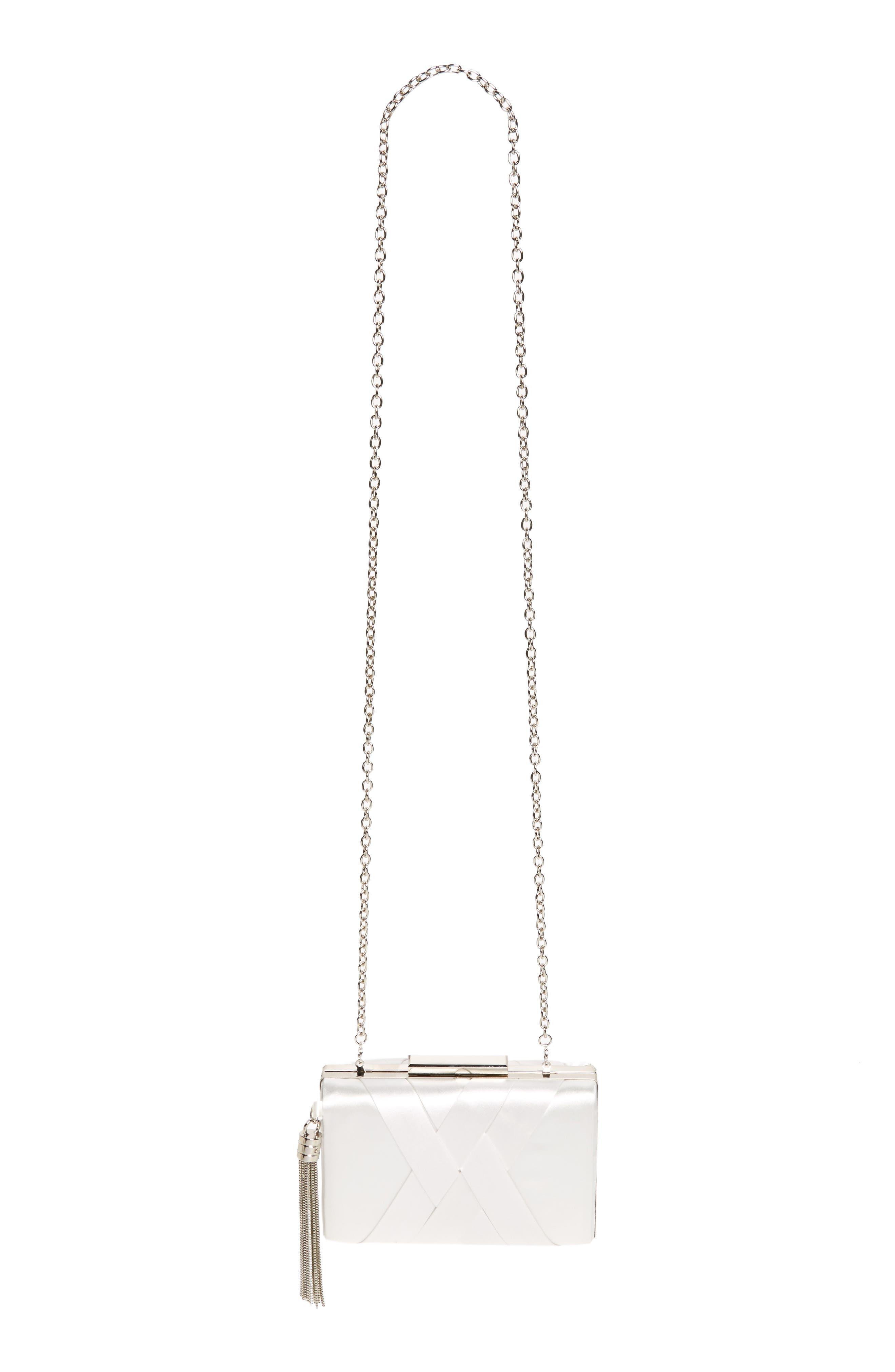 Alternate Image 1 Selected - Sondra Roberts Chain Tassel Woven Satin Box Clutch