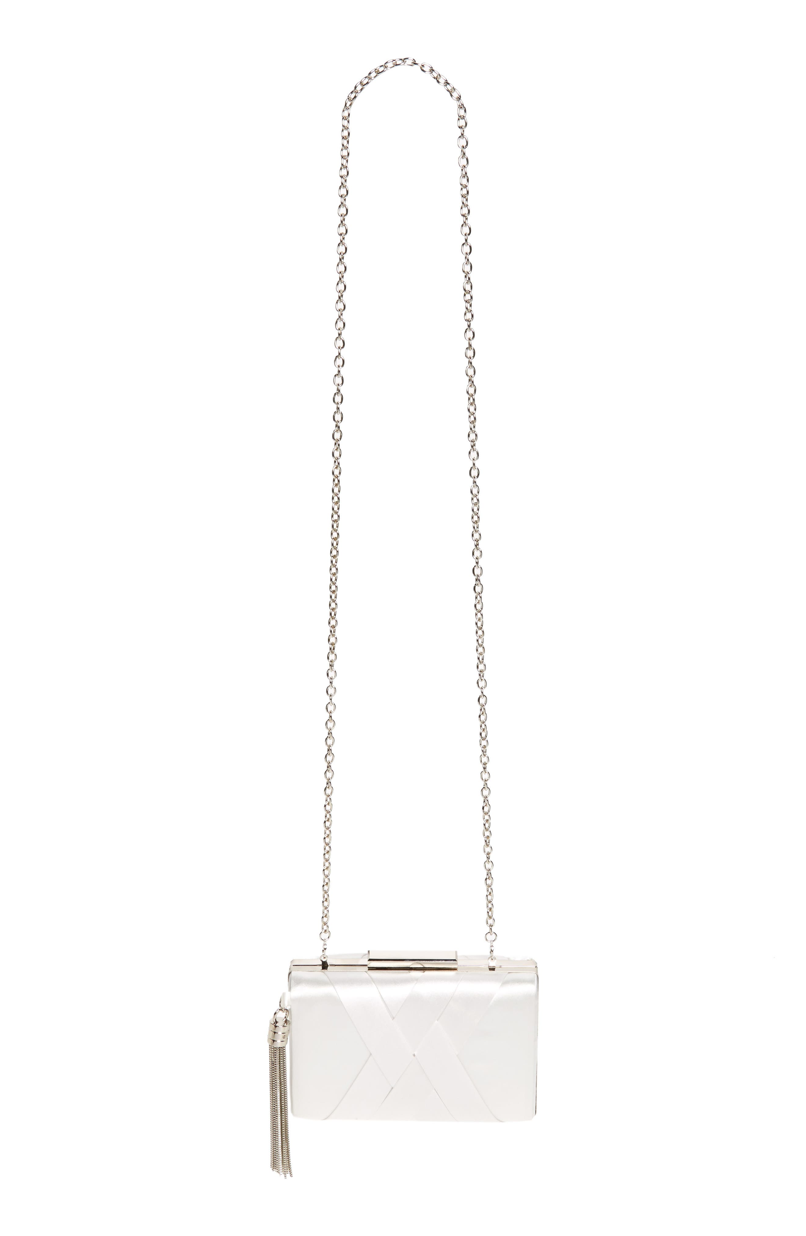 Main Image - Sondra Roberts Chain Tassel Woven Satin Box Clutch