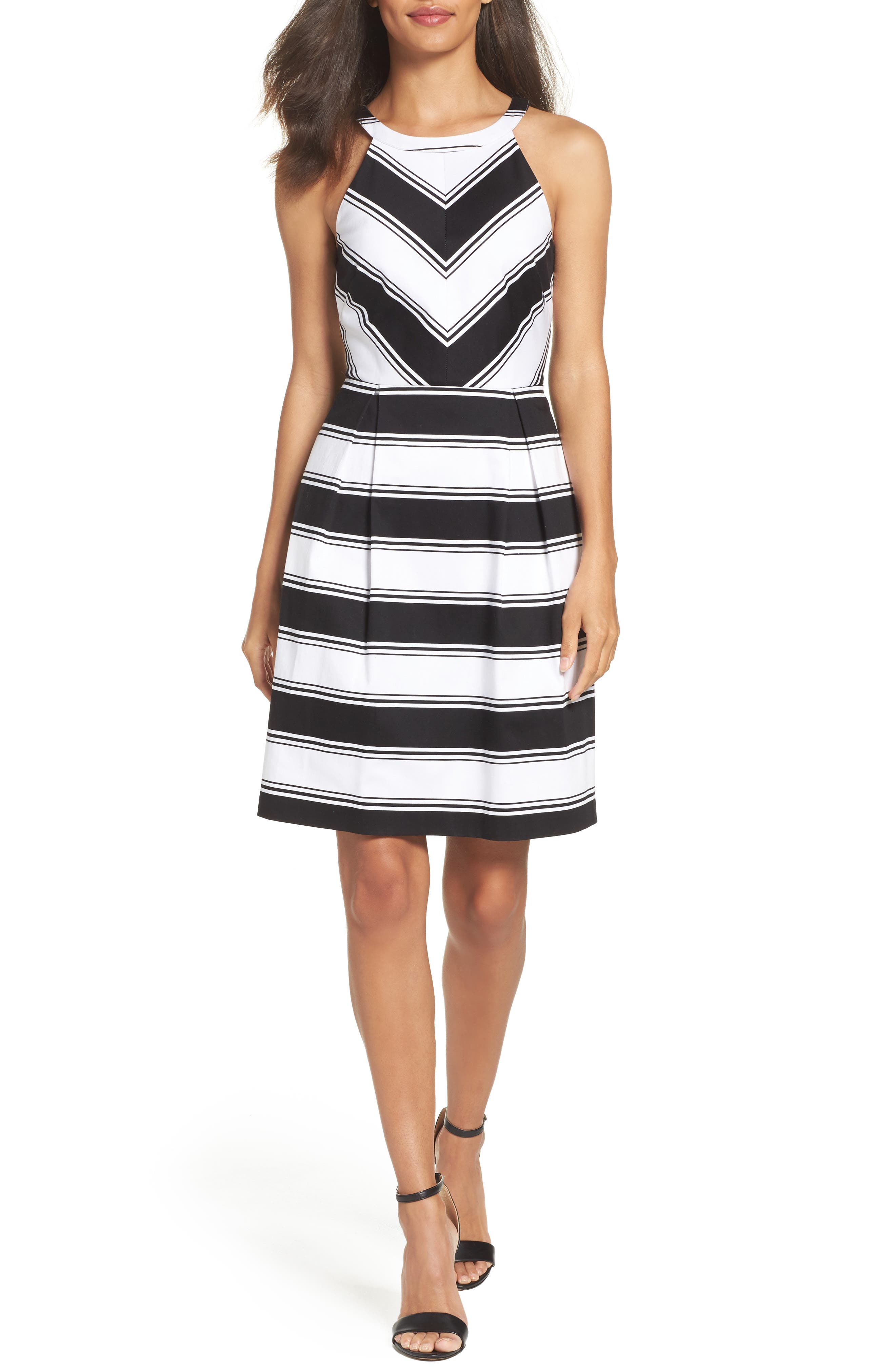 Adrianna Papell Stripe Halter Dress (Regular & Petite)