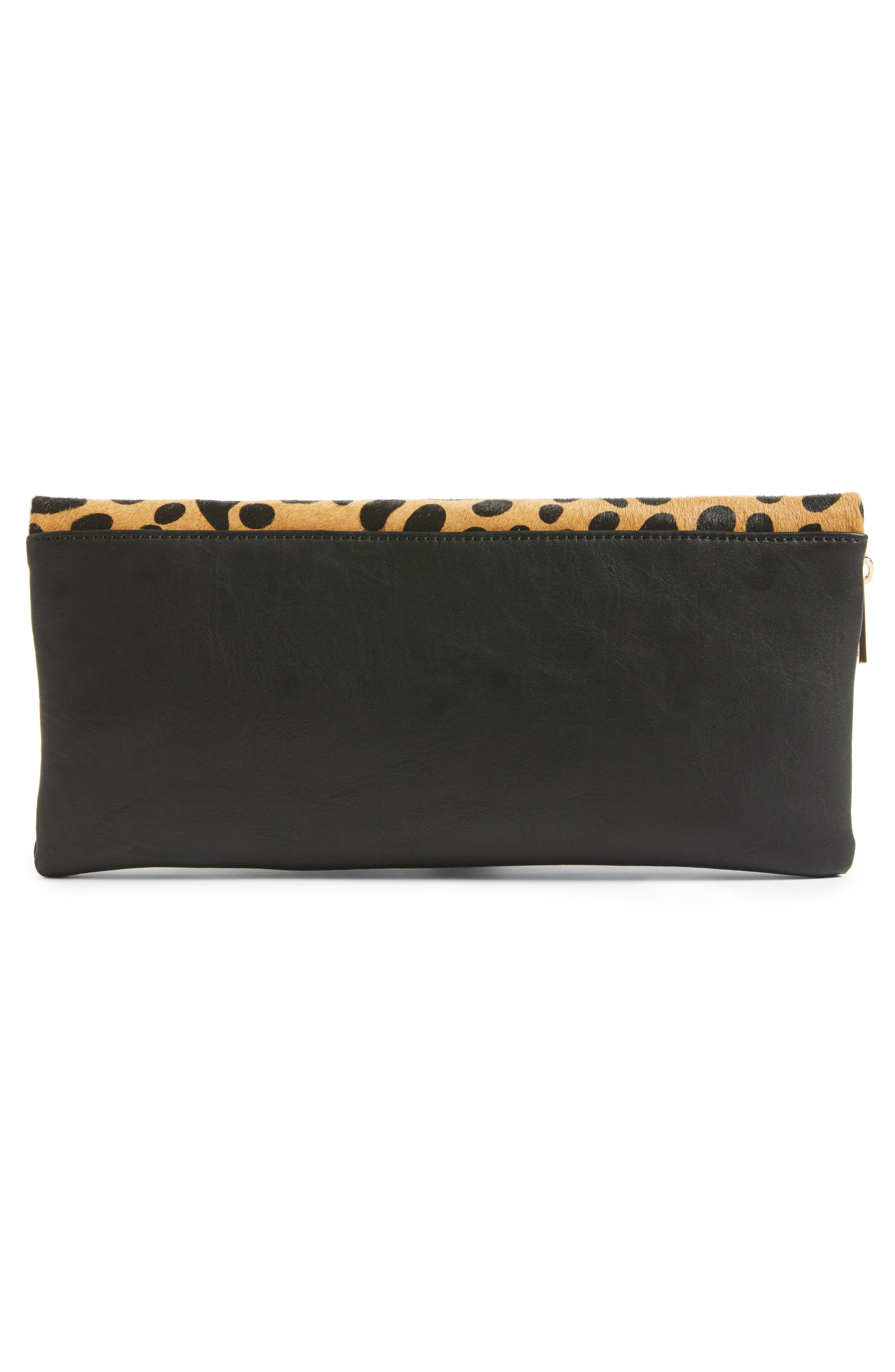 Alternate Image 3  - Sole Society Tamika Genuine Calf Hair & Faux Leather Foldover Clutch