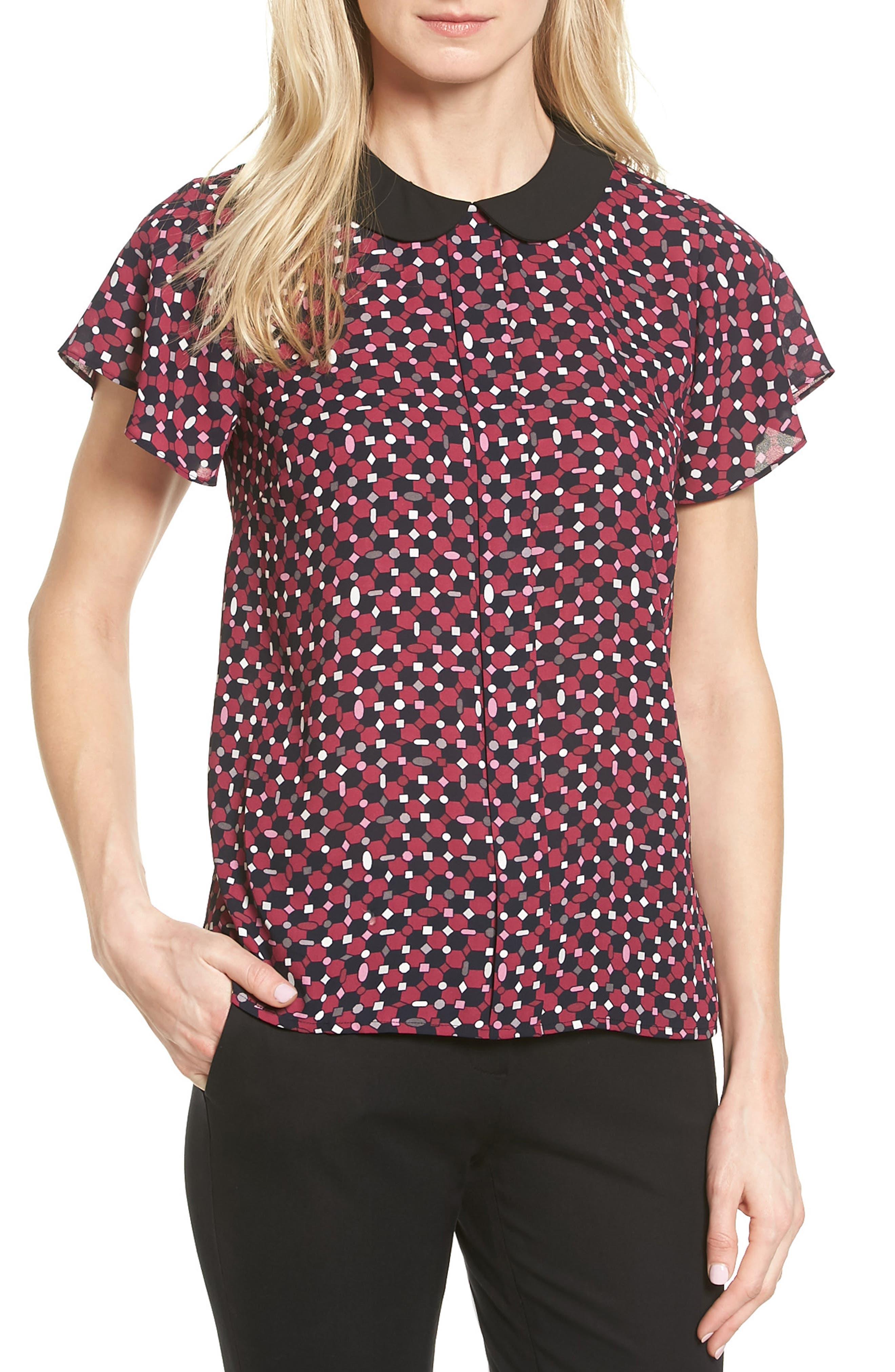 CeCe Contrast Collar Print Blouse