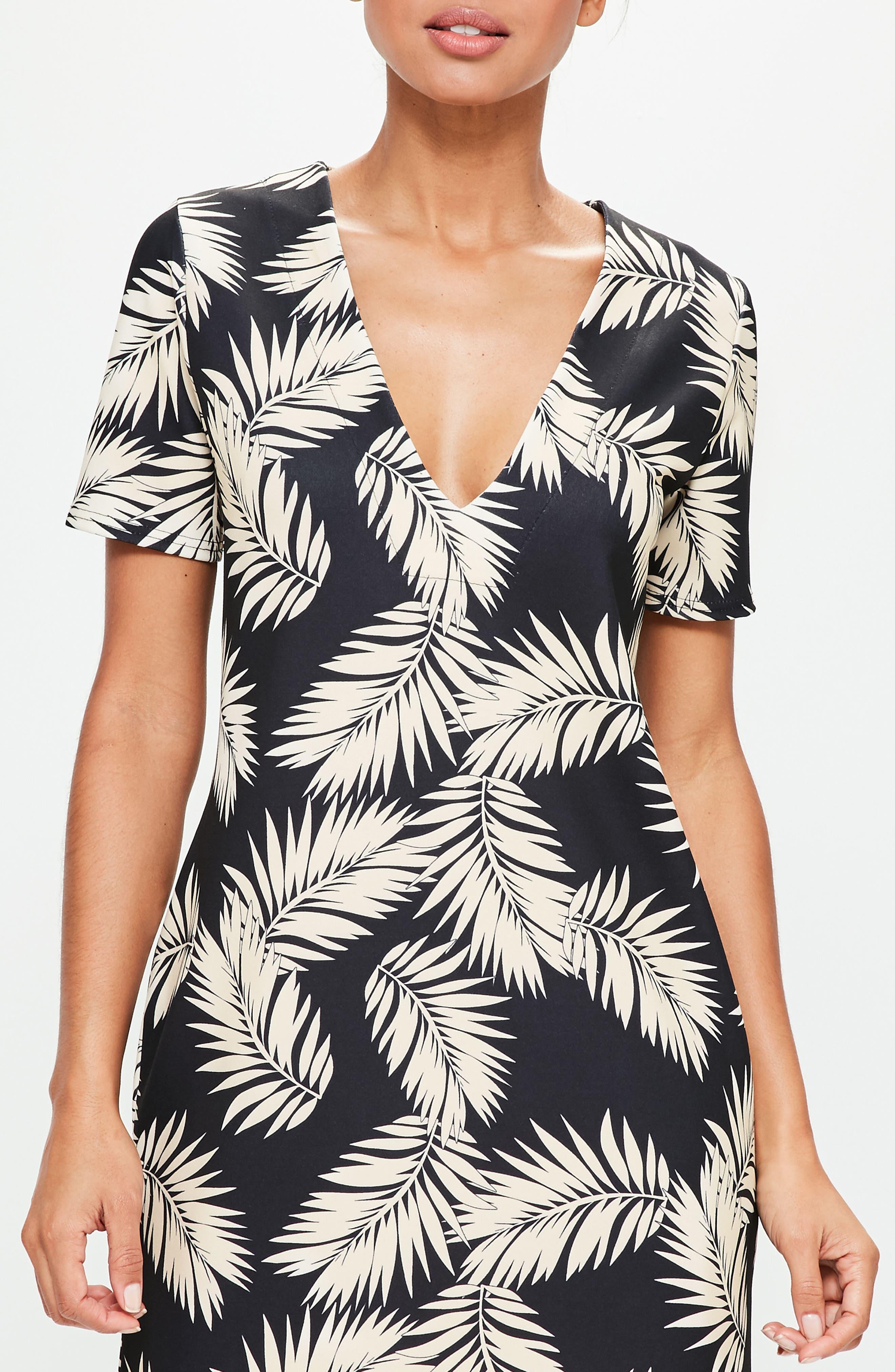 Alternate Image 4  - Missguided Print Plunge T-Shirt Dress