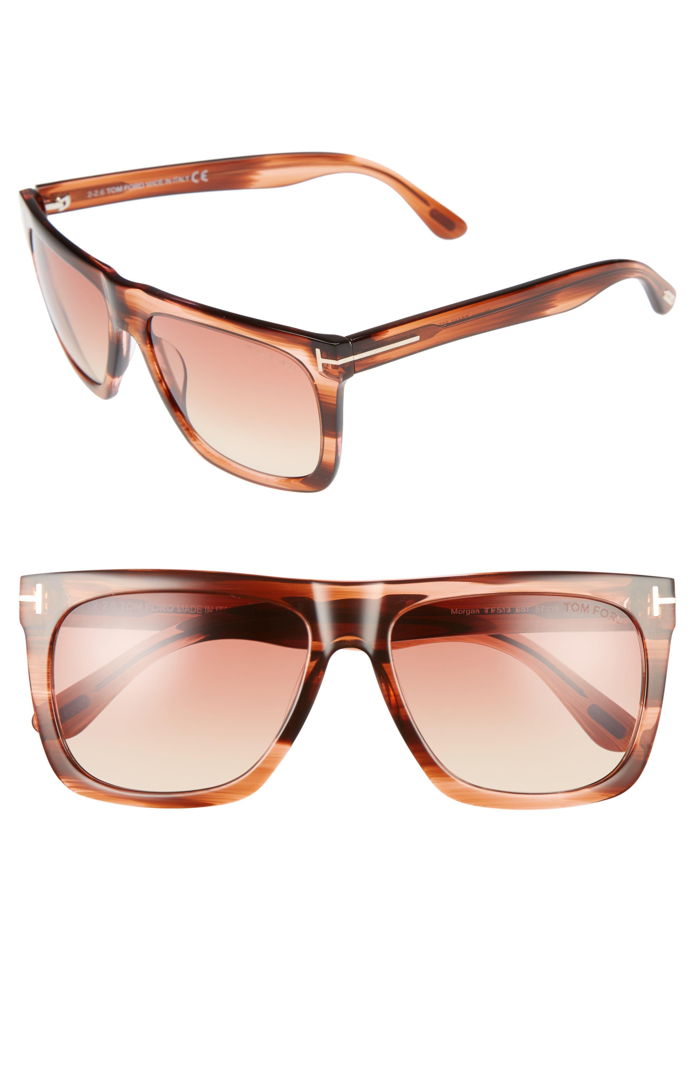 Tom Ford Morgan 57mm Flat Top Sunglasses
